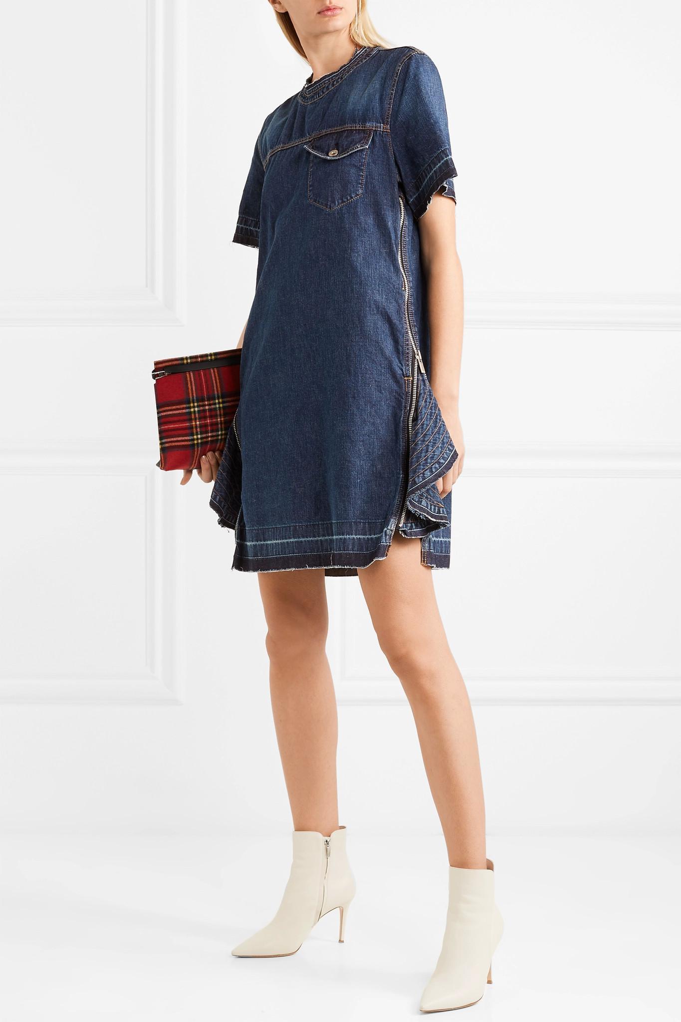 Zip-embellished Denim Dress - Dark denim sacai Free Shipping Newest dKSDLvuhXG
