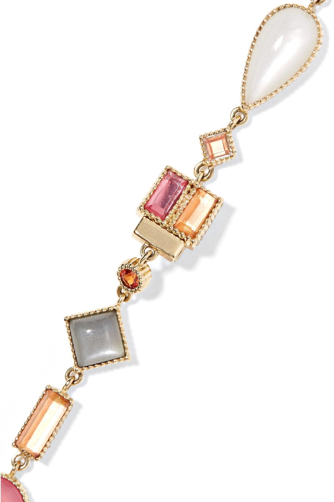 Larkspur & Hawk Cora Rivière 14-karat Gold Multi-stone Necklace in Metallic