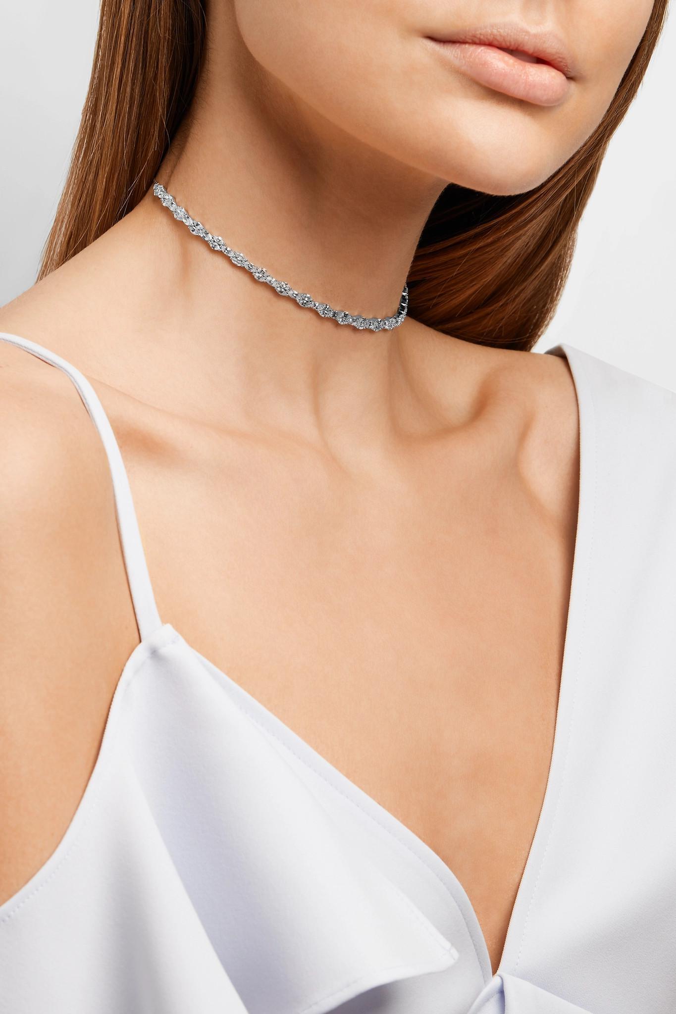 Anissa Kermiche Riviera 18-karat White Gold, Sapphire And Mother-of-pearl Choker