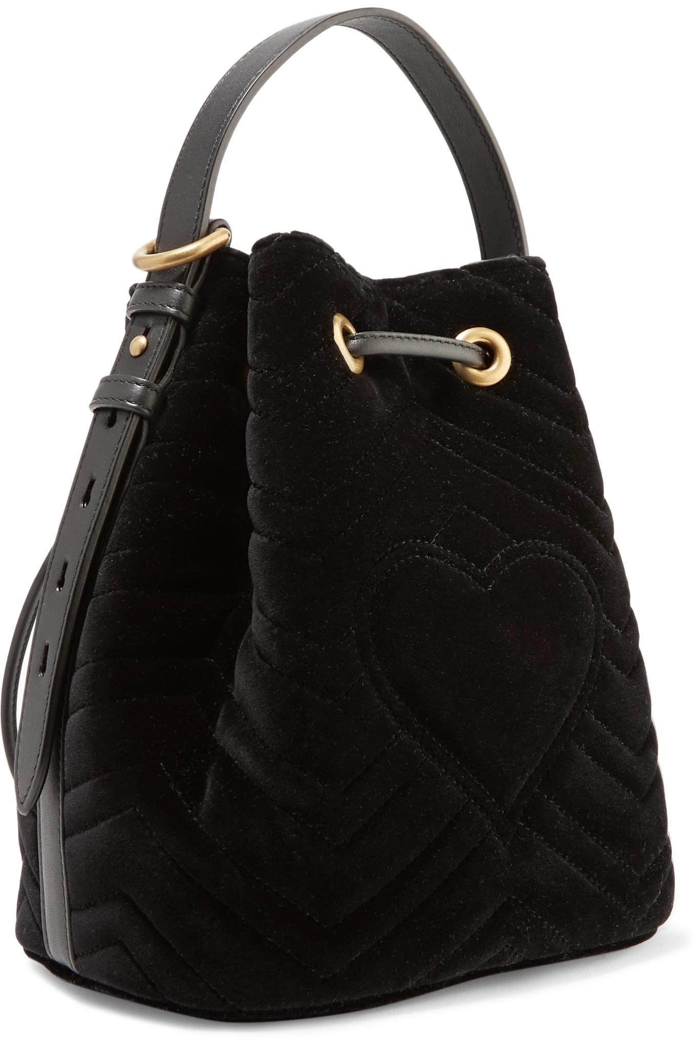 967e6e58c27 Gucci - Black Gg Marmont Leather-trimmed Quilted Velvet Bucket Bag - Lyst.  View fullscreen