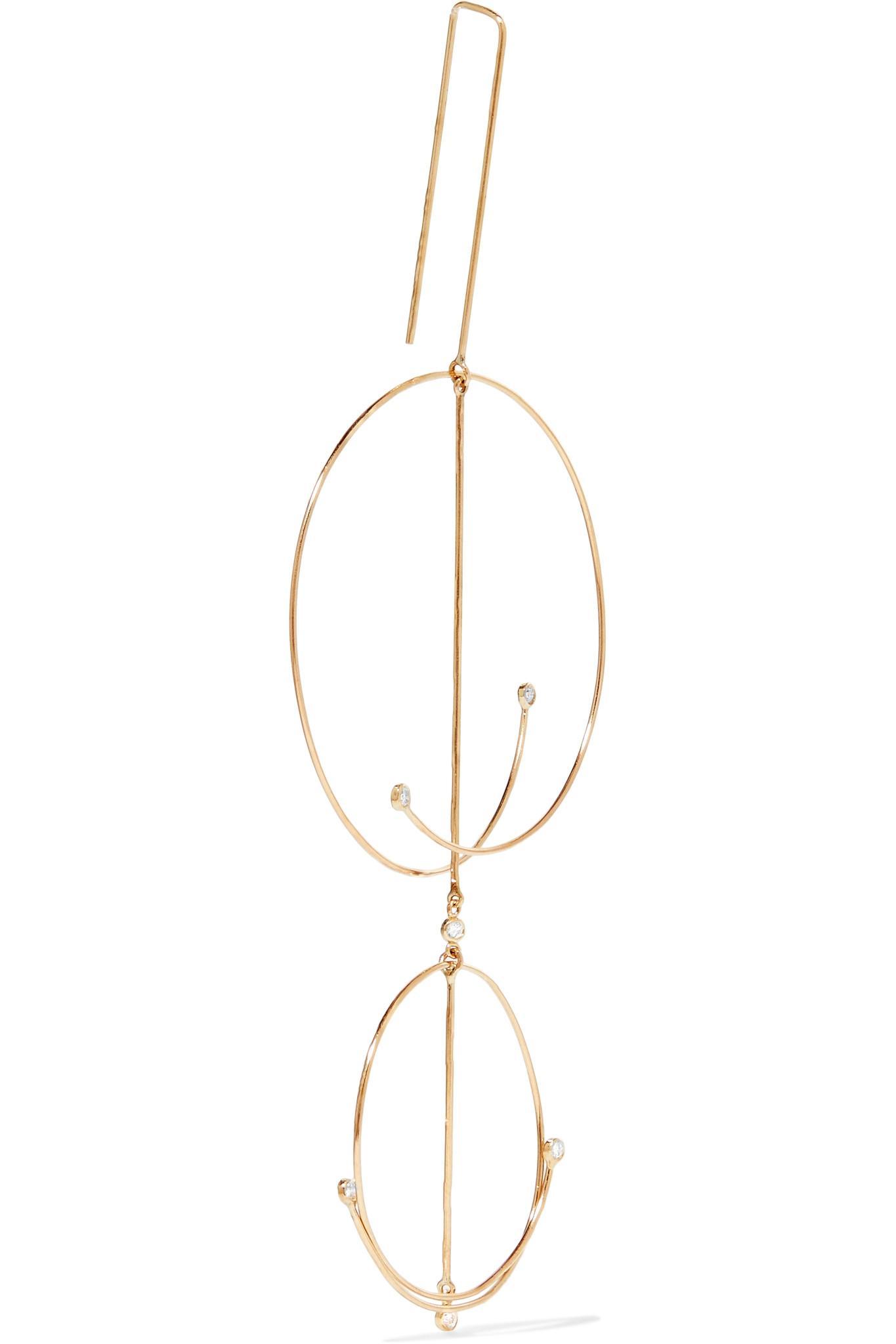 Grace Lee Designs Linear Whisper 14-karat Gold Diamond Earring jXcgoK