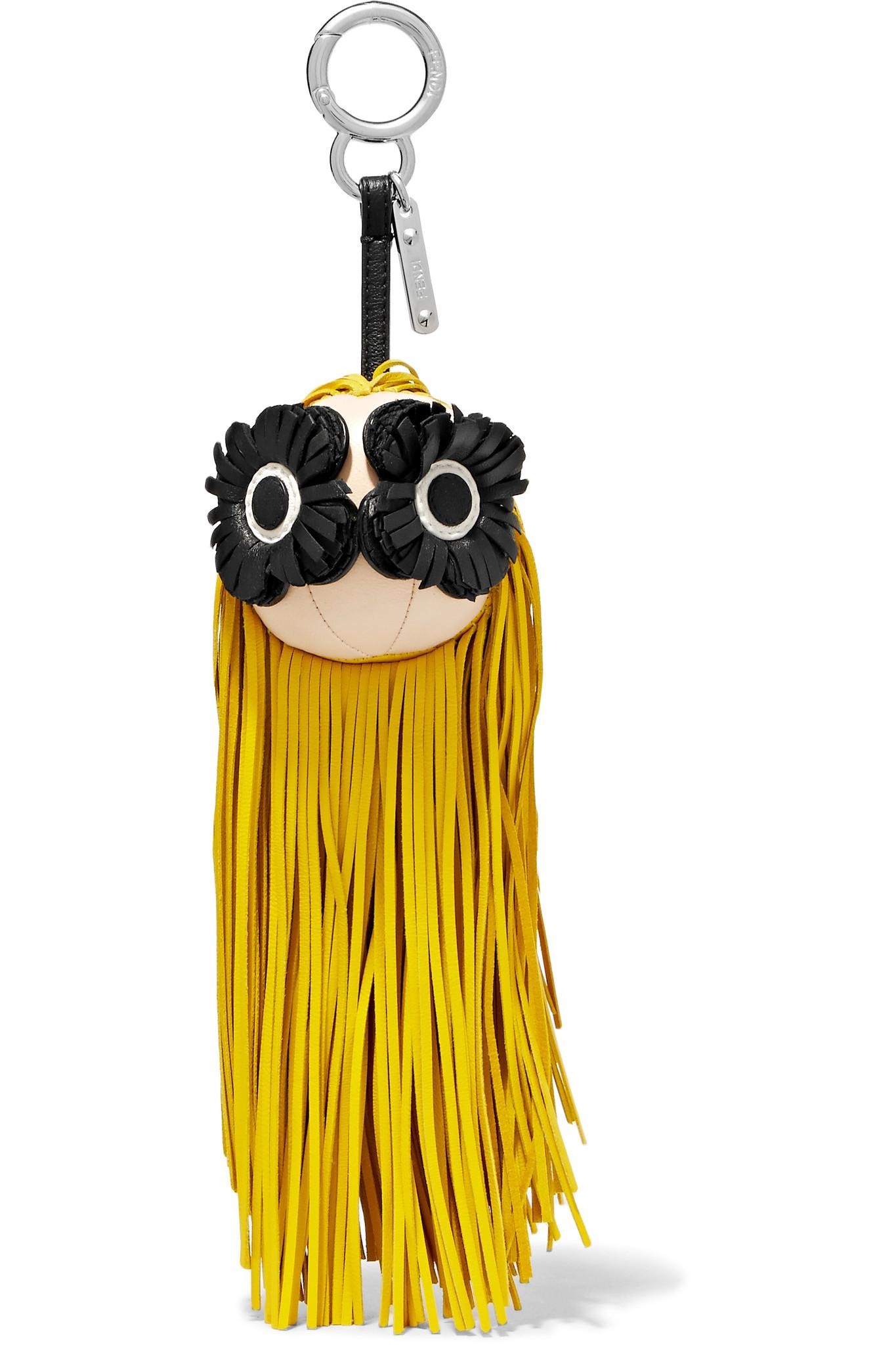 Fendi Fringed Leather Bag Charm - Yellow gog6HSH4b