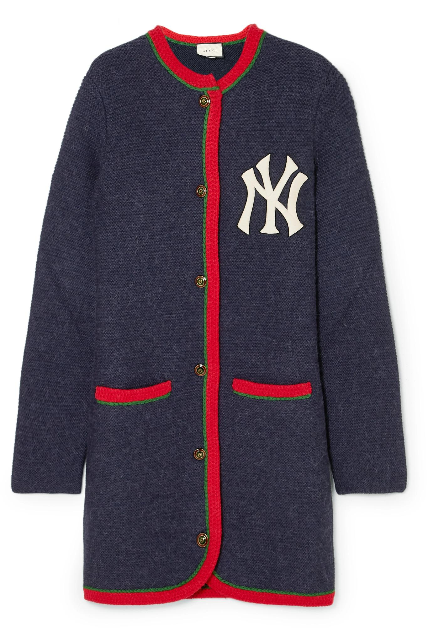 gucci new york yankees embroidered alpaca and wool blend. Black Bedroom Furniture Sets. Home Design Ideas