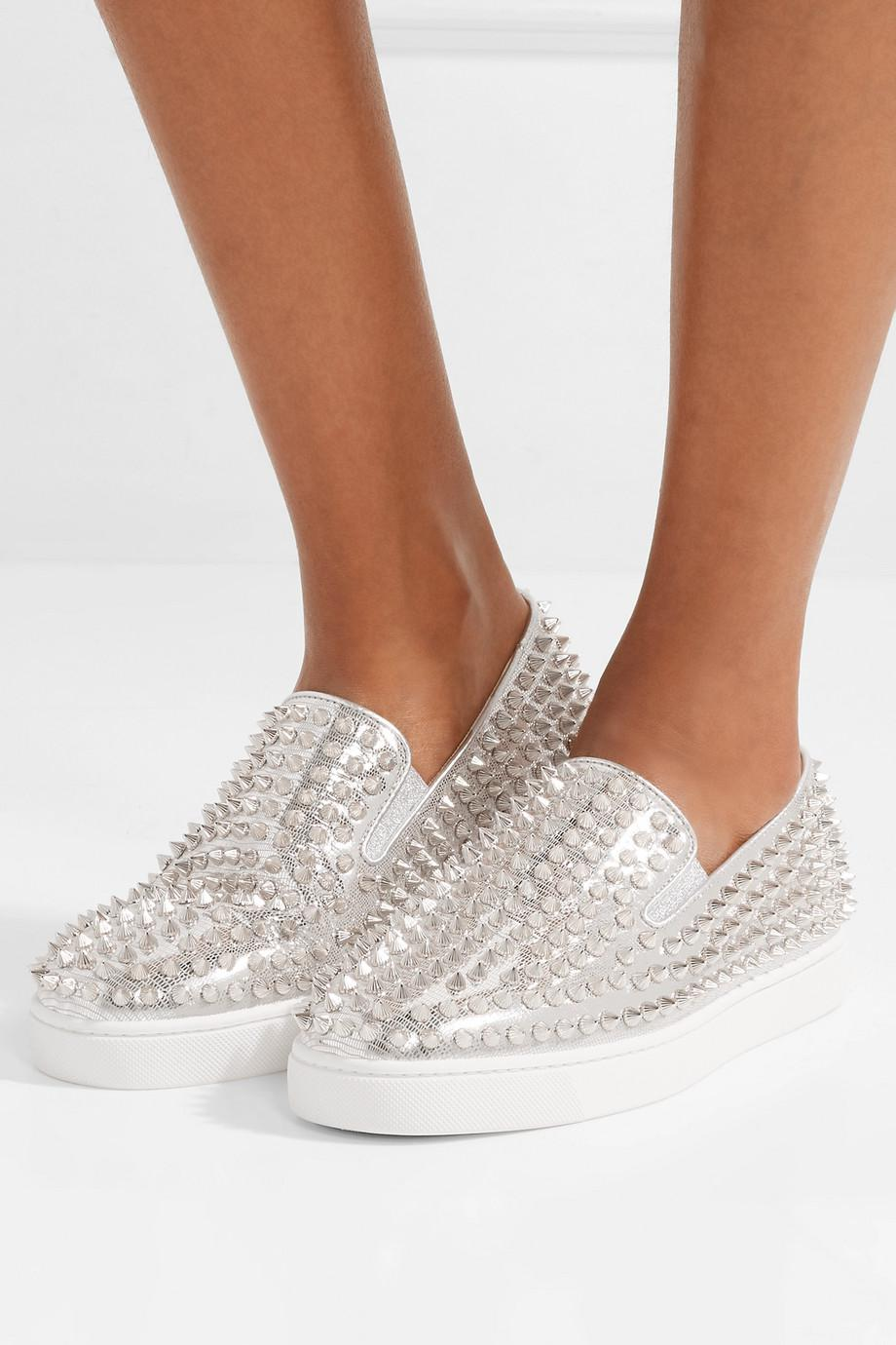 Roller Boat Spiked Metallic Textured-leather Slip-on Sneakers - Silver Christian Louboutin Exclusive Online AxBspYb5xn