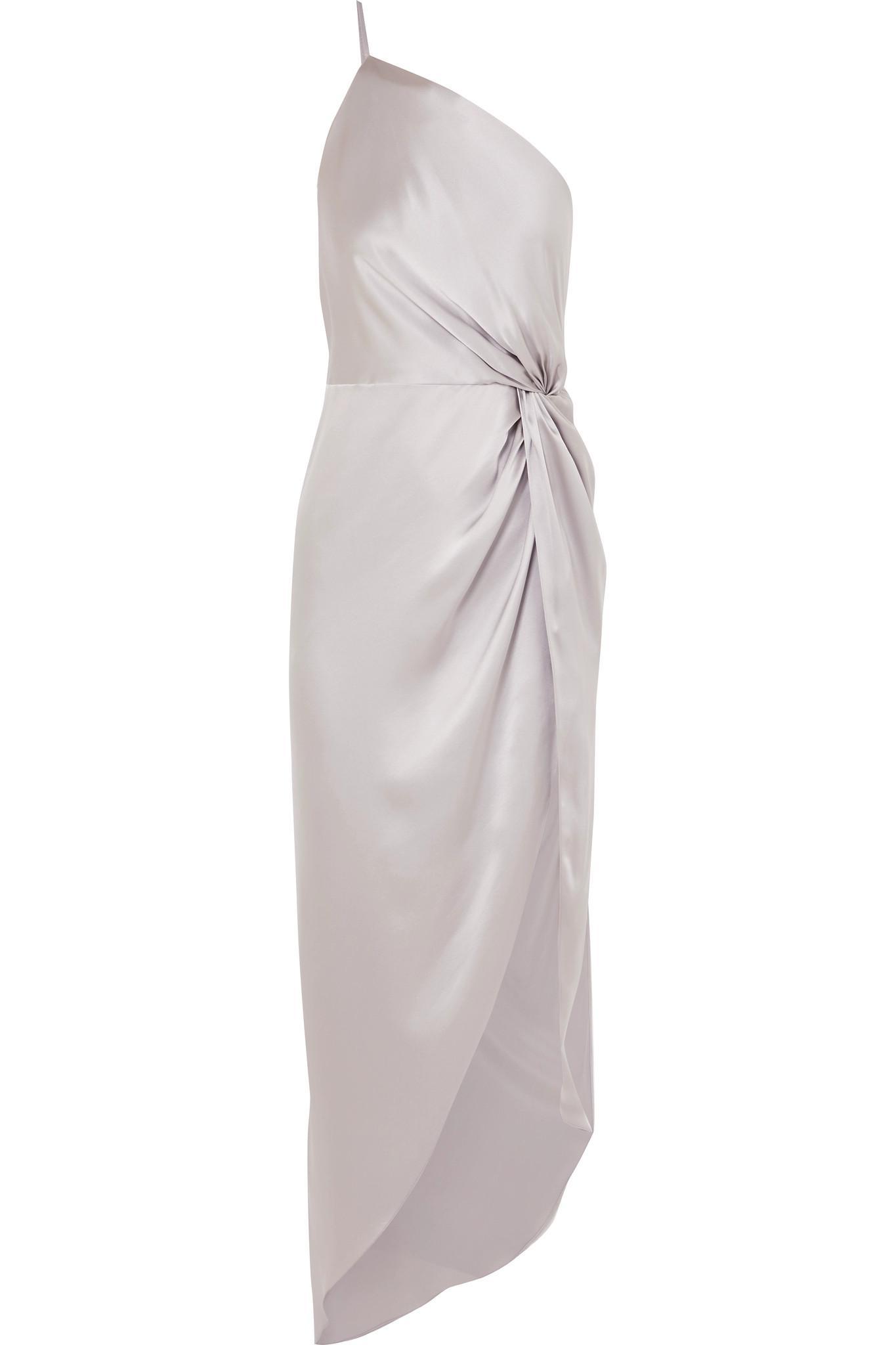 e8ed2619b30f Michelle Mason. Women s Metallic One-shoulder Twisted Asymmetric Silk-satin  Gown