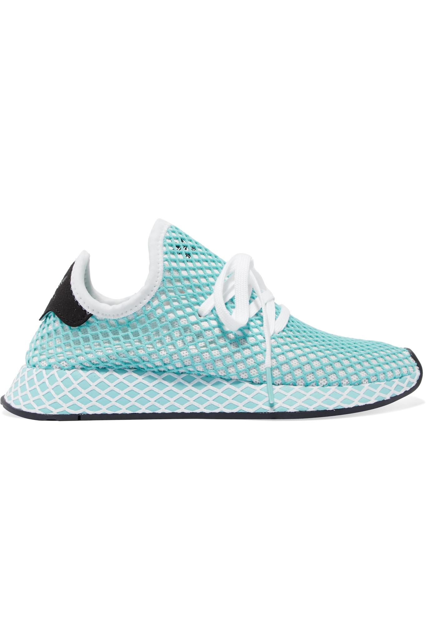 sports shoes fe9ed 2dd66 adidas Originals. Womens Blue + Parley Deerupt Runner Suede-trimmed Mesh  Trainers