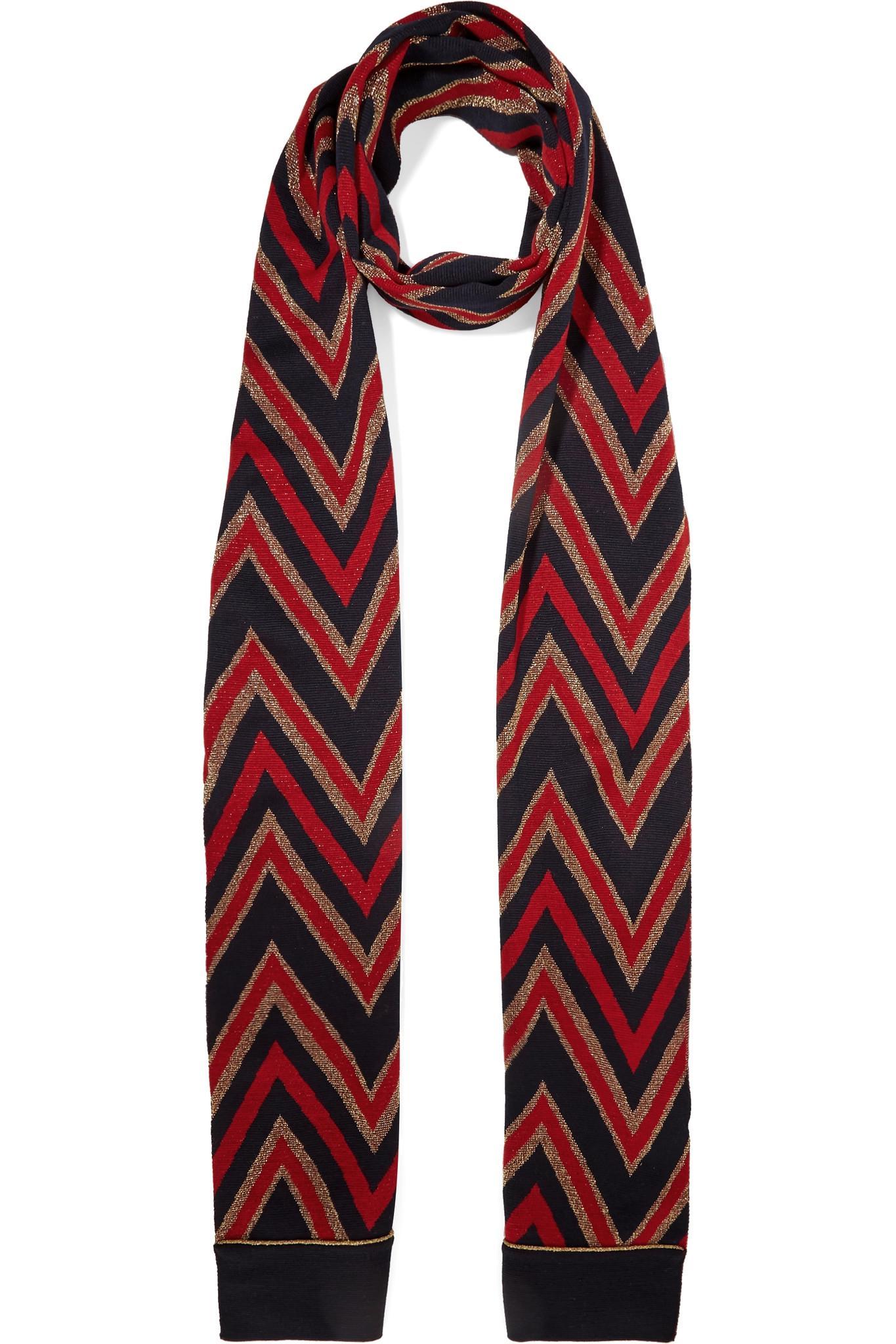 1f671d89ca9 Lyst - Gucci Metallic Wool-blend Jacquard Scarf in Red