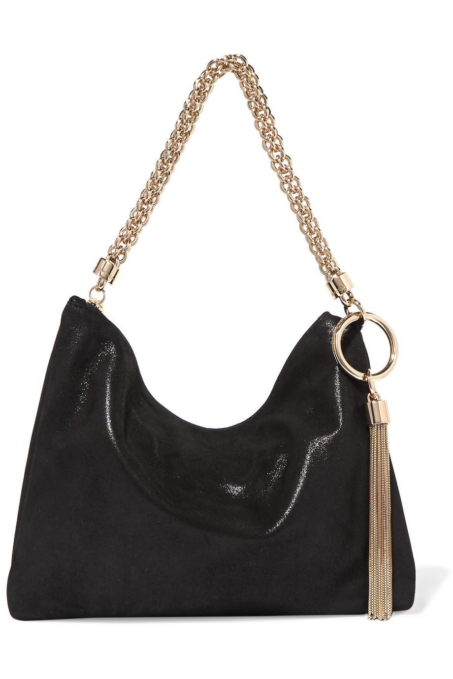 7ea1809077cd Lyst - Jimmy Choo Callie Metallic Suede Shoulder Bag in Black
