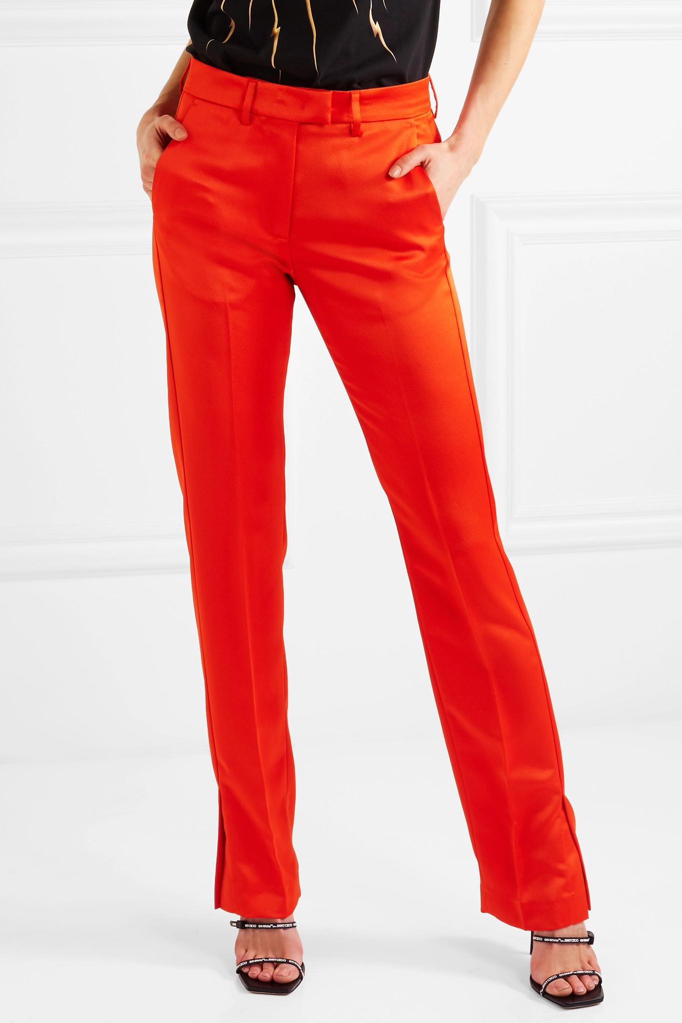 Satin Straight-leg Pants - Red Msgm a7wOf3FHc