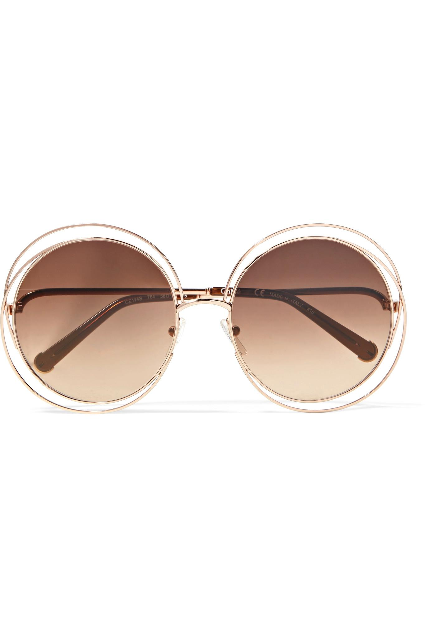 e6acd06d97 Lyst - Chloé Carlina Round-frame Rose Gold-tone Sunglasses in Brown