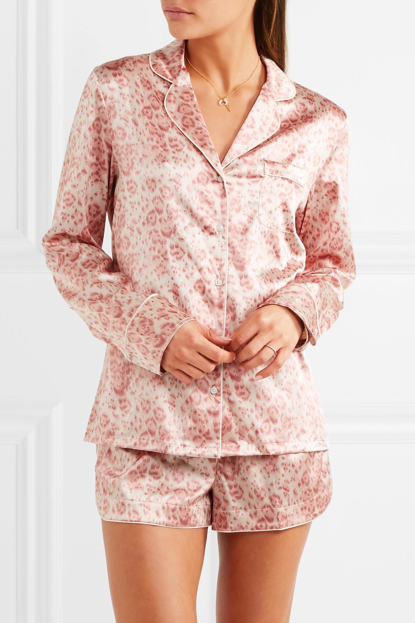 Lyst - Stella McCartney Poppy Snoozing Leopard-print Stretch-silk ... a42d887d7