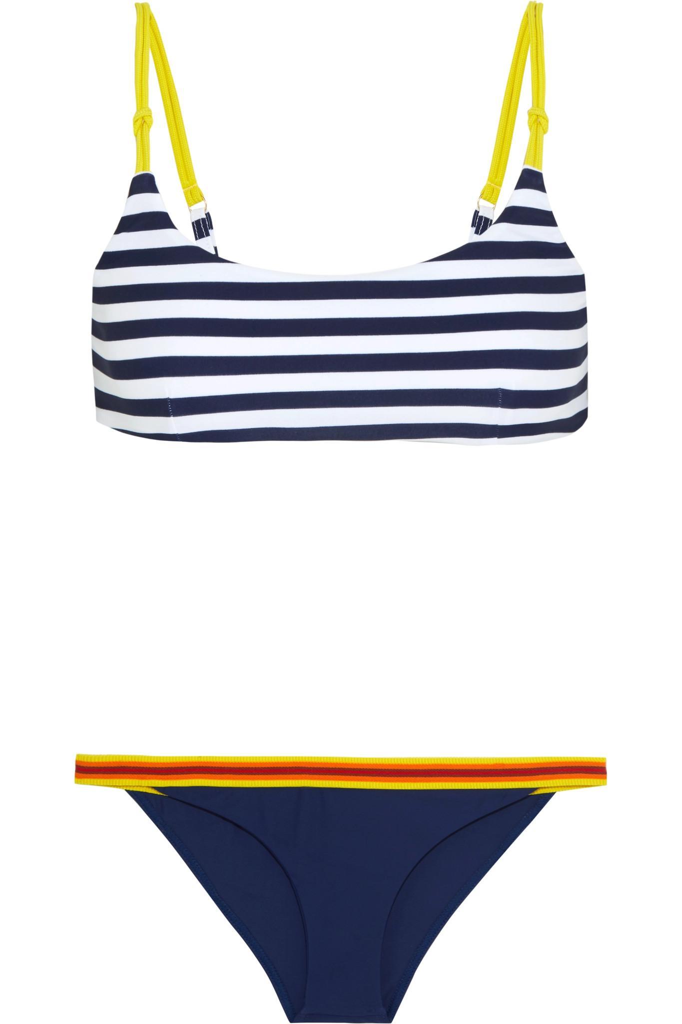 4b9d7bae0f Lyst - RYE SWIM Splish Striped Canvas And Grosgrain-trimmed Bikini ...