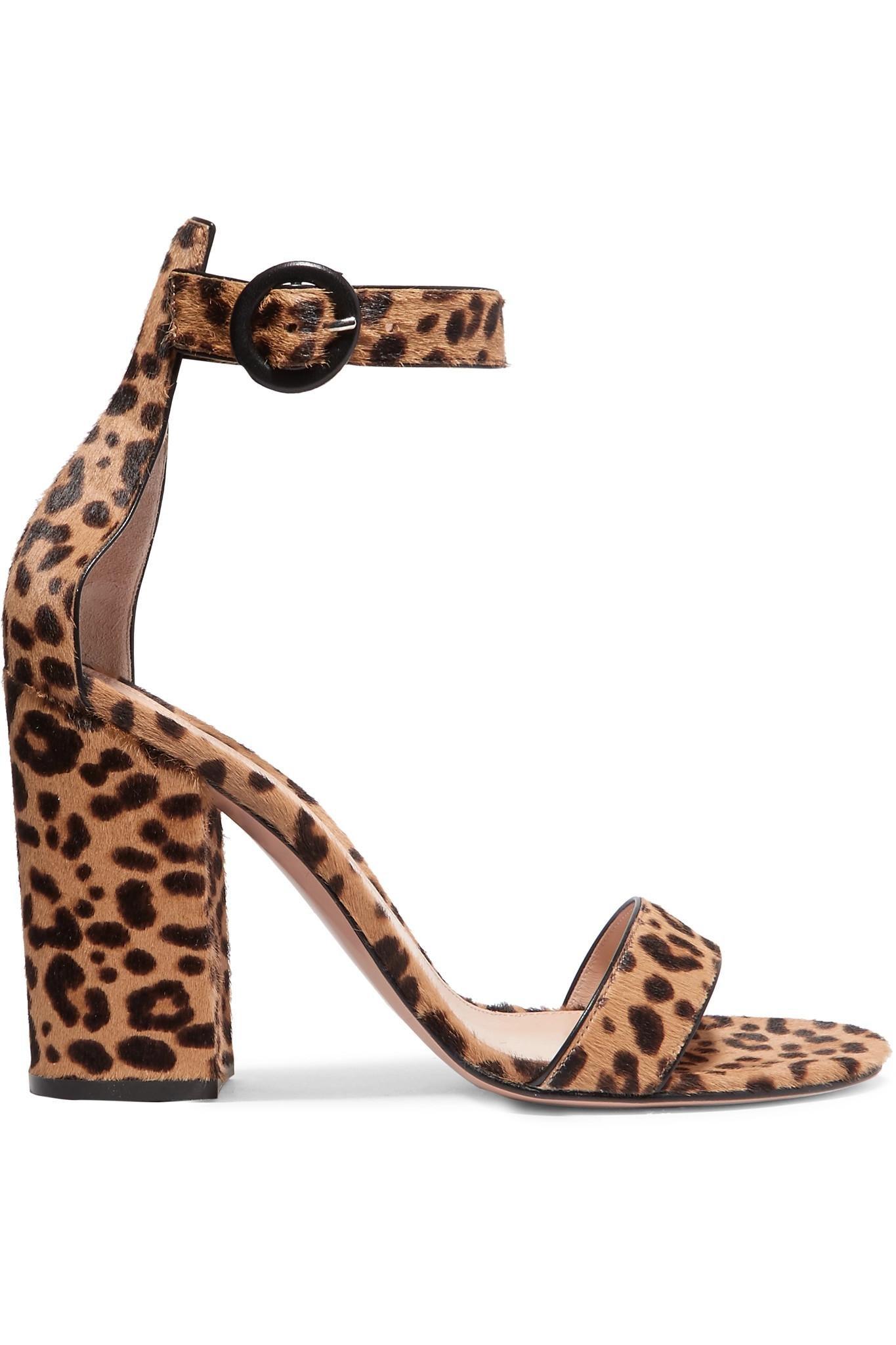 f1d93e06a228 Gianvito Rossi. Women s Brown Versilia 100 Leopard-print Calf Hair Sandals