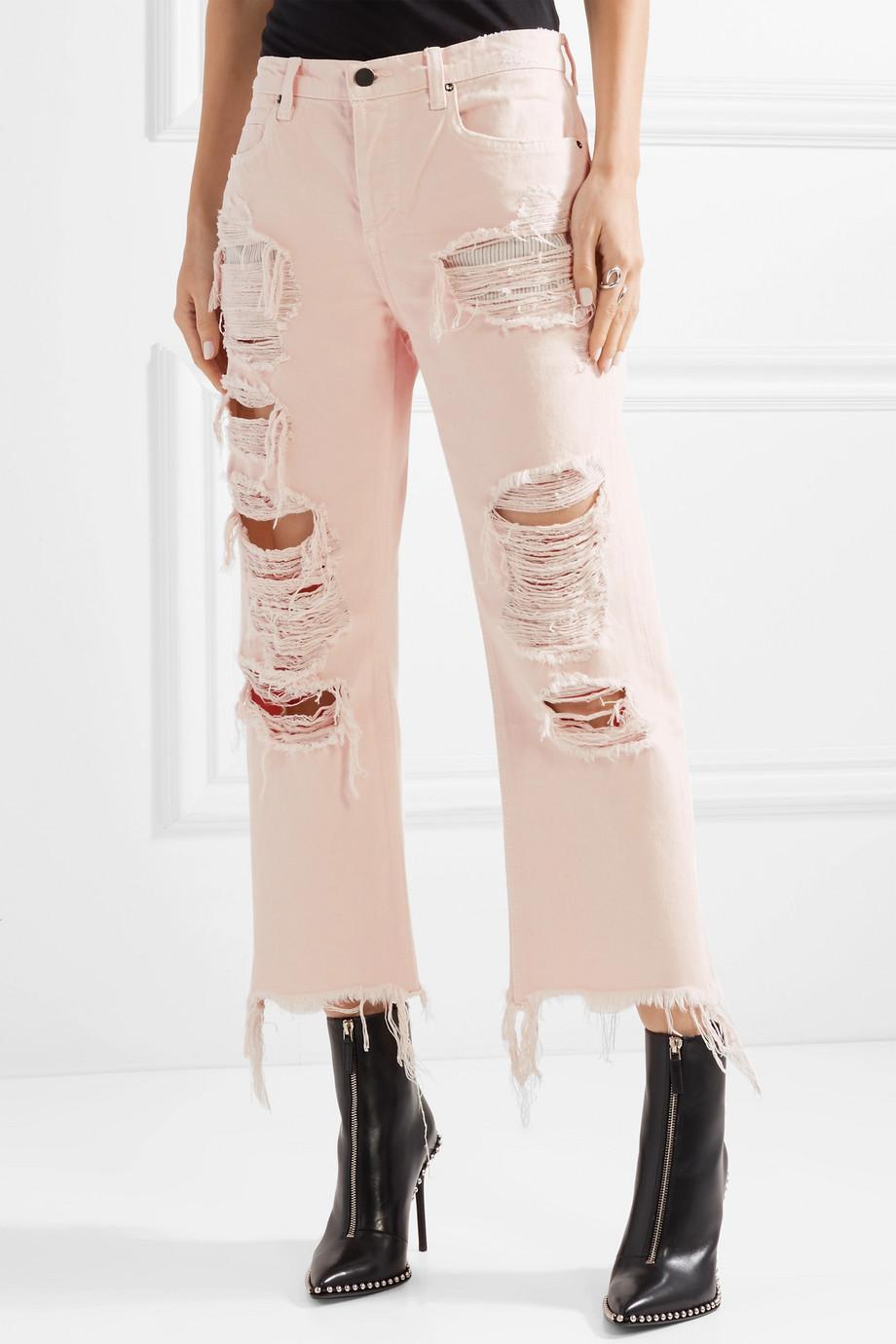Free Shipping How Much Factory Price Rival Cropped Distressed High-rise Straight-leg Jeans - Baby pink Alexander Wang Sale Order Low Price Fee Shipping For Sale Cheap Online Store 5lwLZKra