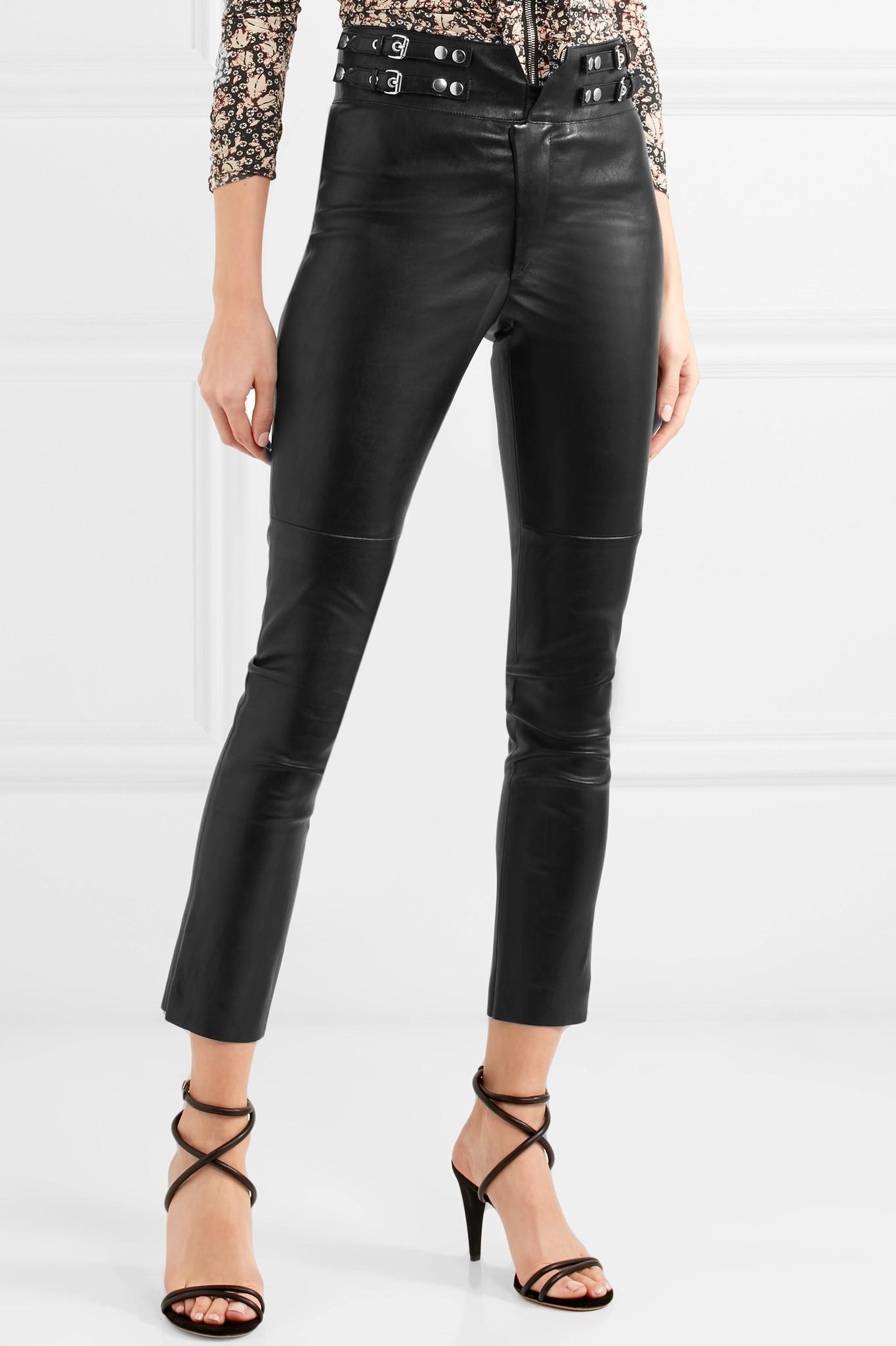 Preydie Leather Skinny Pants - Black Isabel Marant 9W6M6p