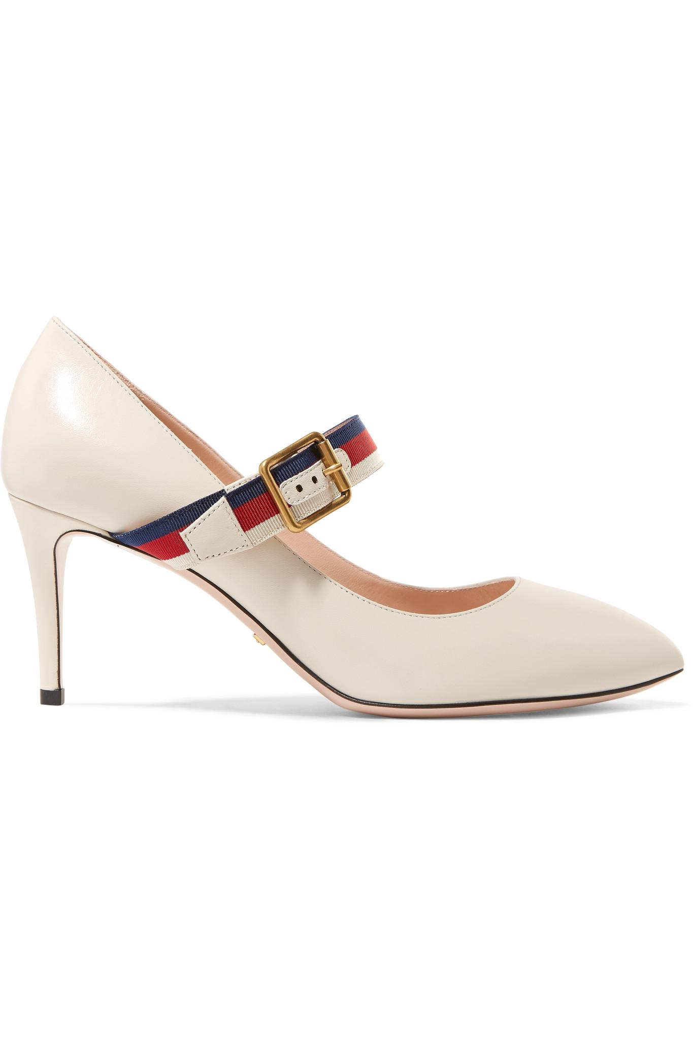 2f2b63afc11 Gucci. Women s White Sylvie Grosgrain-trimmed Leather Court Shoes