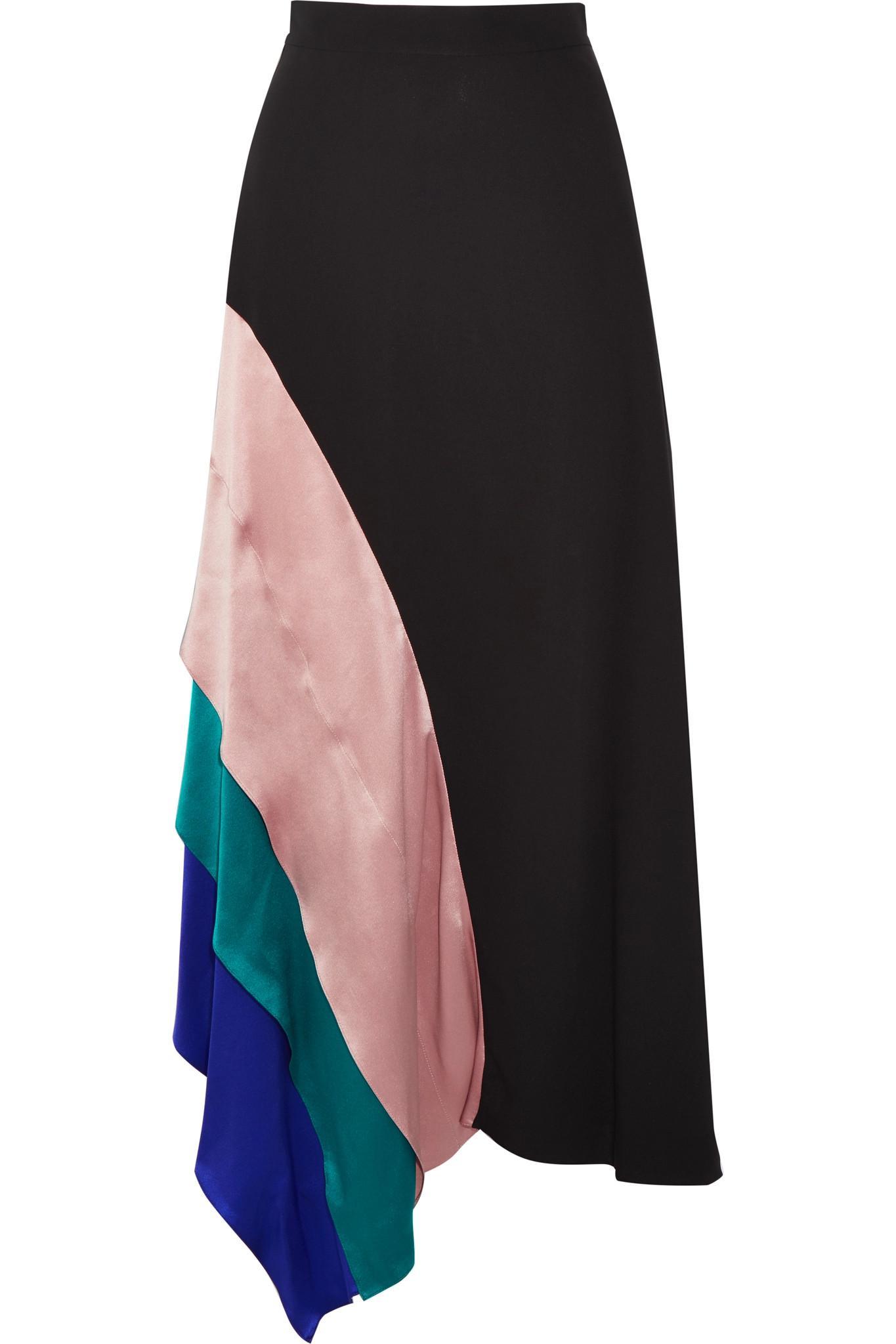ROKSANDA Asymmetric Satin-trimmed Silk Midi Skirt in Black