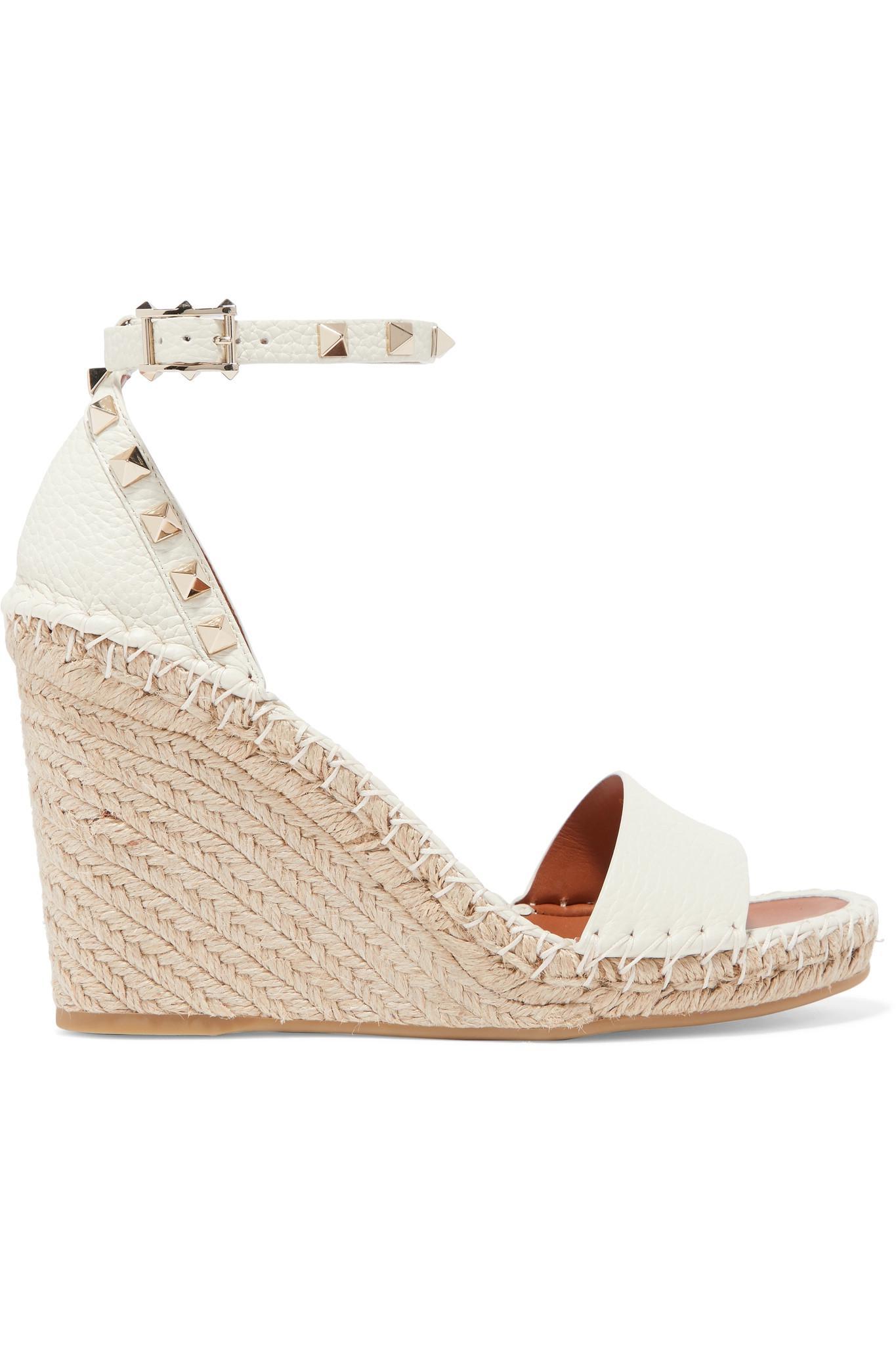 04918911bbd8 Valentino. Women s Natural Garavani The Rockstud Textured-leather  Espadrille Wedge Sandals
