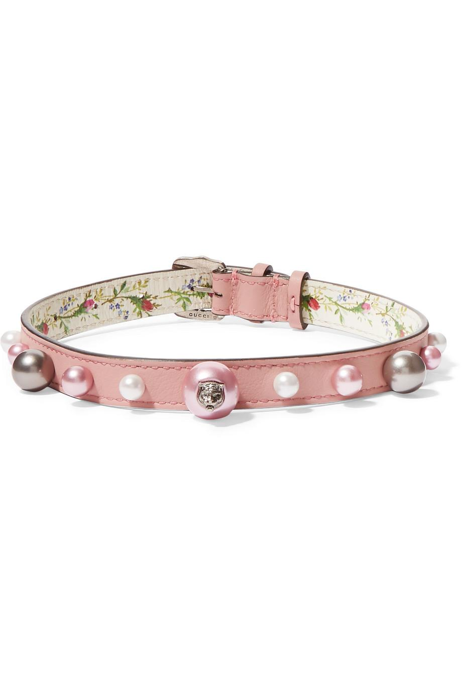Gucci Leather, Silver-tone And Faux Pearl Choker - Pink