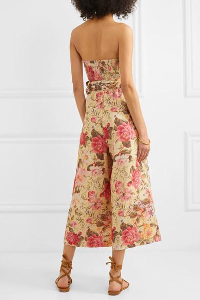 Combi-pantalon Bustier En Lin À Imprimé Fleuri Honour Lin Zimmermann en coloris Rose
