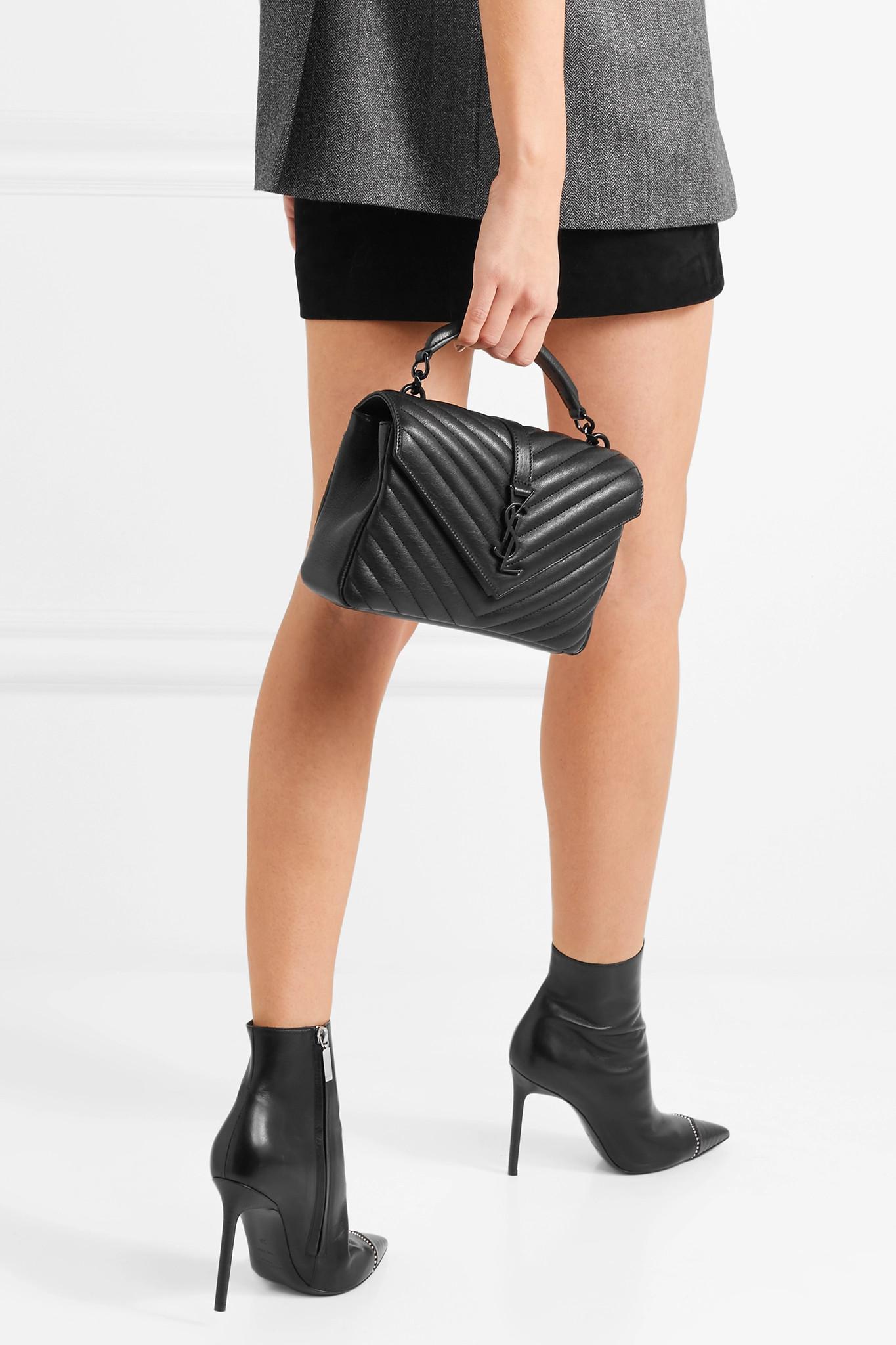 2a02f6216ac3 Saint Laurent - Black College Medium Quilted Leather Shoulder Bag - Lyst.  View fullscreen