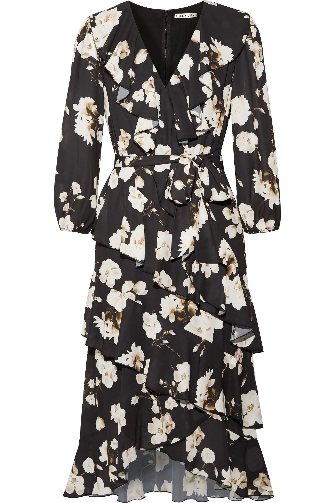 Kye Ruffled Floral-print Crepe De Chine Midi Dress - Black Alice & Olivia FuQZ4