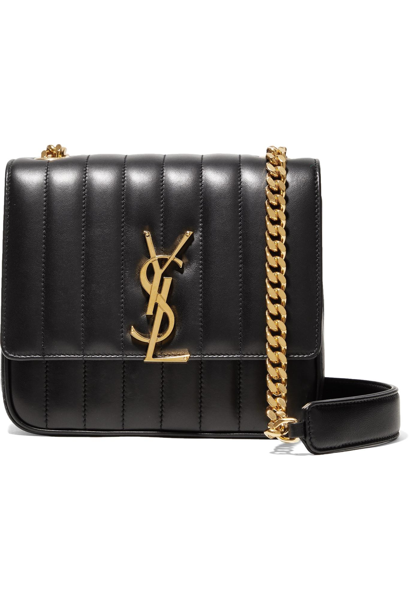 7dfd555c41 Saint Laurent Vicky Medium Quilted Leather Shoulder Bag in Black - Lyst
