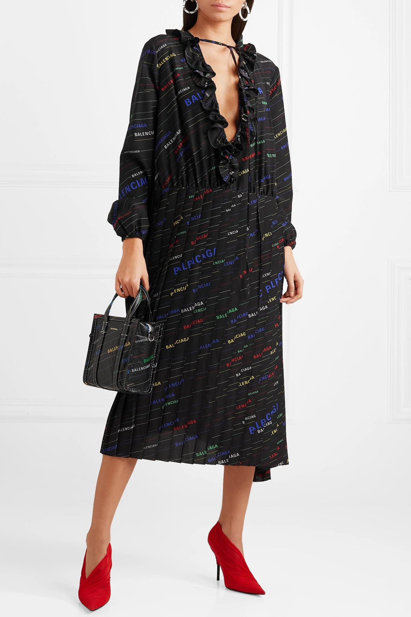 e2983546d07 Balenciaga - Black Ruffled Printed Silk Crepe De Chine Midi Dress - Lyst.  View fullscreen