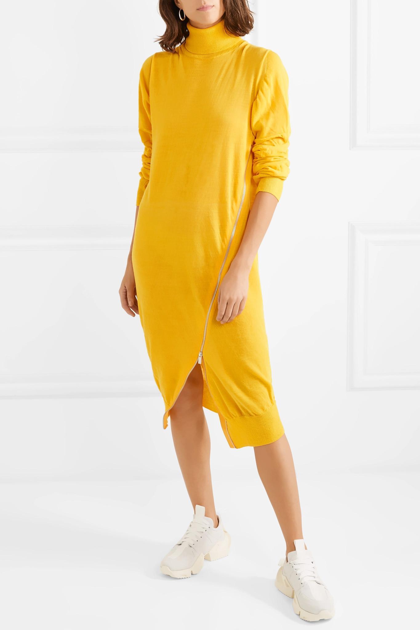 30b3cce3fe8b Lyst - Sacai Zip-detailed Wool Turtleneck Midi Dress in Yellow