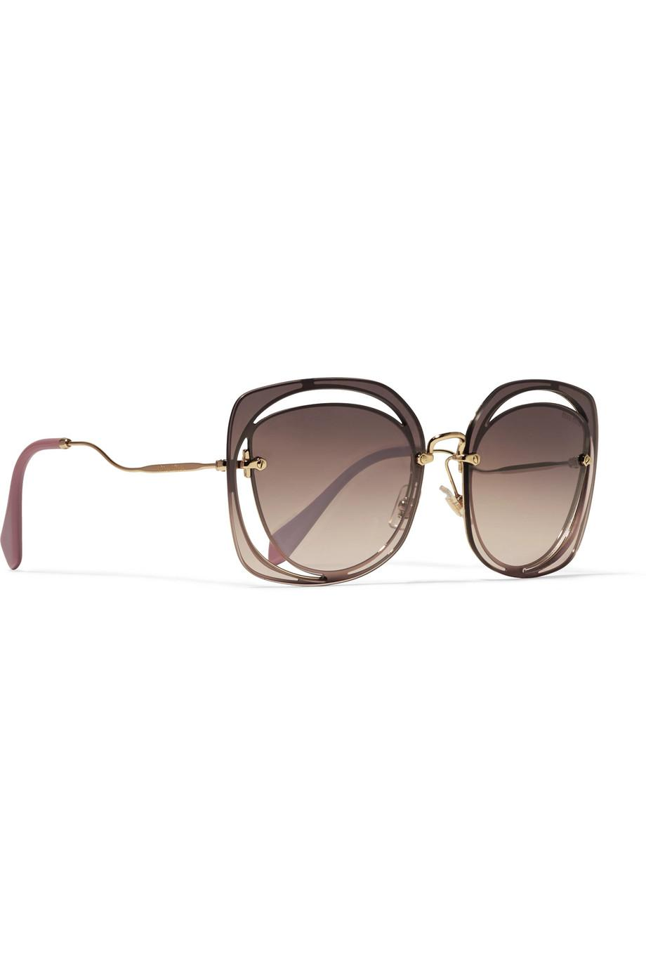 57409d6a3c26 Miu Miu Scenique Square-frame Cutout Acetate And Gold-tone ...