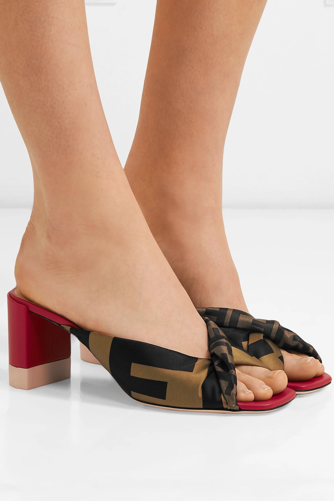 6abff304493 Fendi - Brown Knotted Logo-print Satin And Leather Mules - Lyst. View  fullscreen