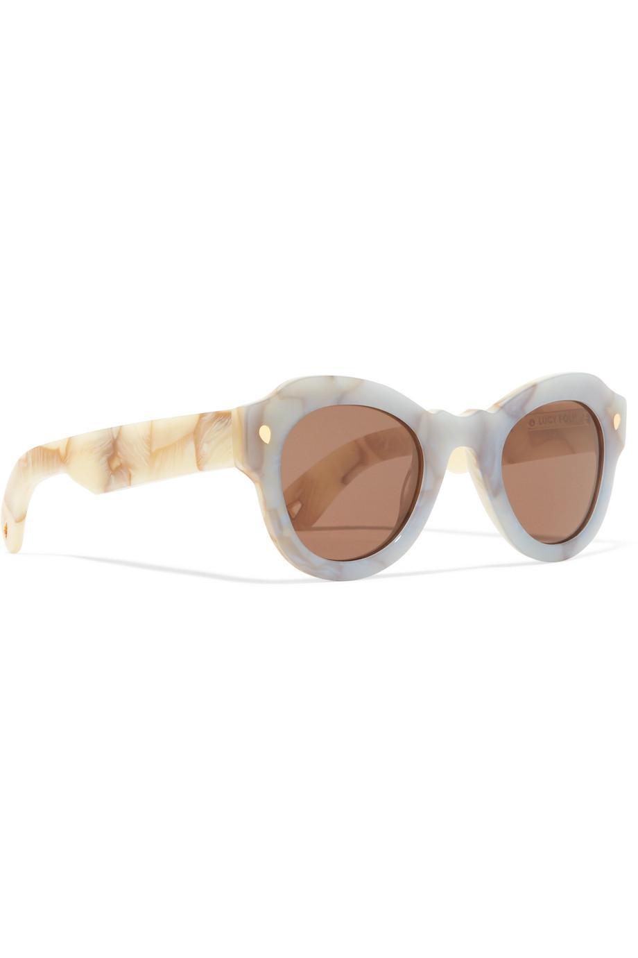 Fly Away Round-frame Acetate Sunglasses - Blue Lucy Folk VPpad
