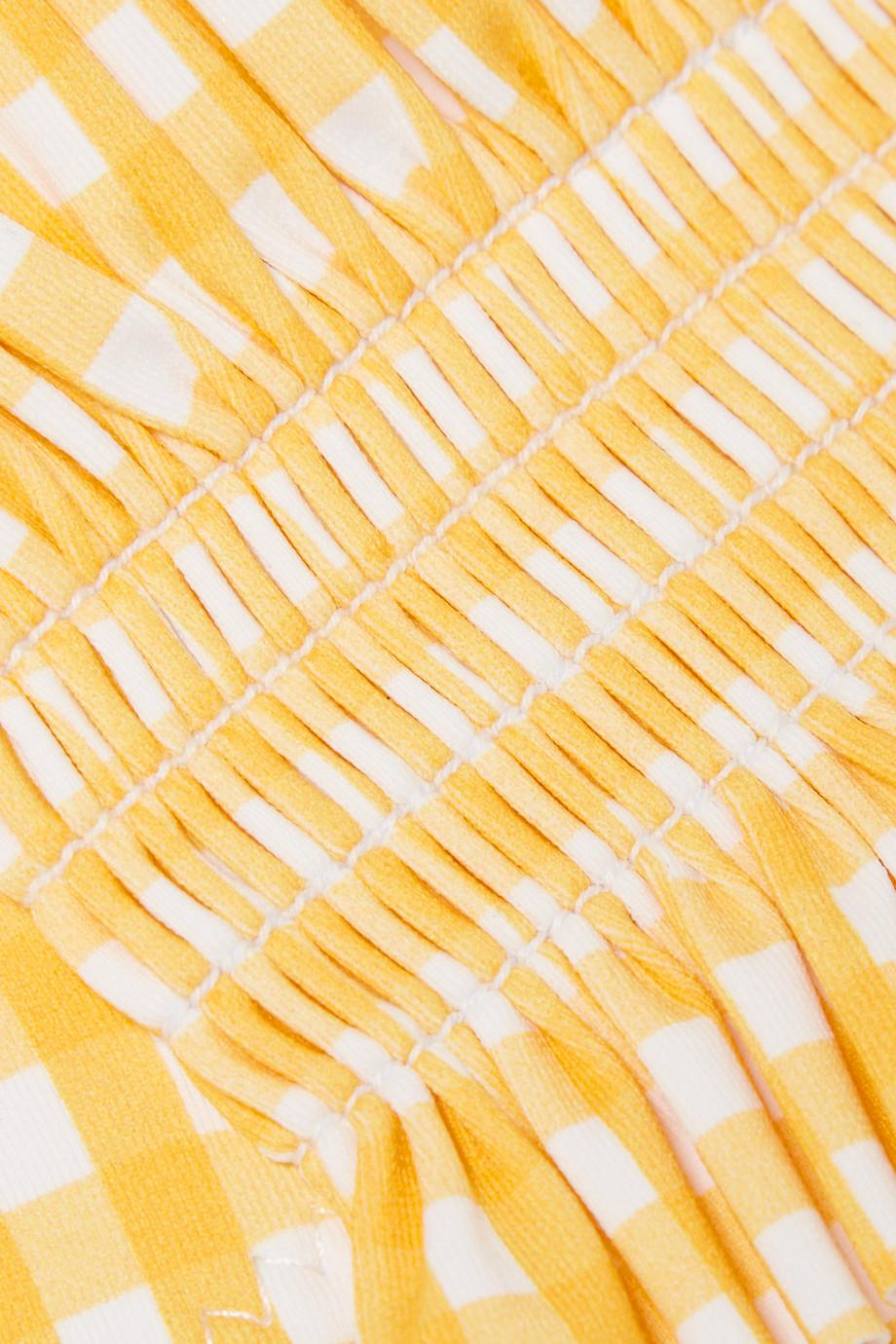 Outlet Authentic Andros Off-the-shoulder Shirred Gingham Bikini - Yellow Caroline Constas Visit Online Cheap Get Authentic Outlet Best Wholesale as1Xy8MraC