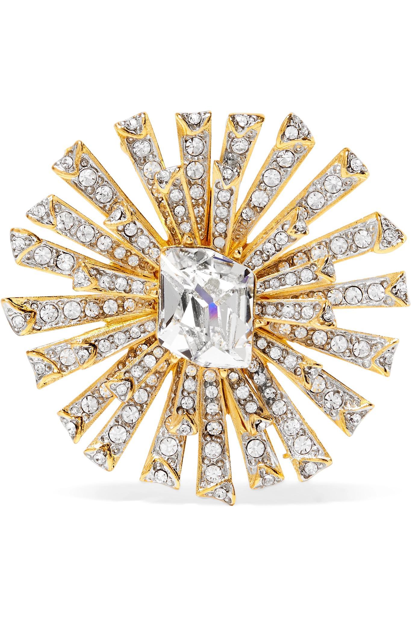 Kenneth Jay Lane Silver Crystal Starburst With Crystal Center Pin GcXeNI7xJ