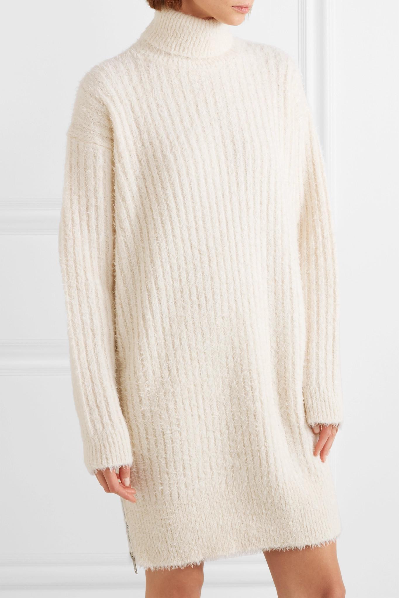 Oversized Ribbed-knit Turtleneck Mini Dress - Ecru Givenchy KTzVv1HDpx