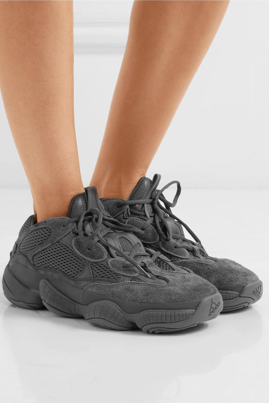 8b99a8e64b7ab Adidas Originals Black Kanye West Yeezy 500 Desert Rat Suede And Mesh  Sneakers