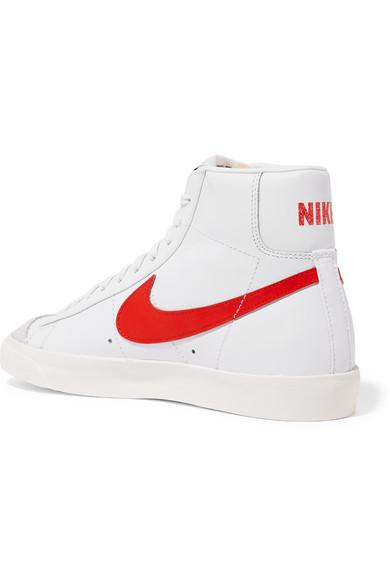 préstamo Húmedo Universal  Nike Blazer Mid 77 Vintage Suede-trimmed Leather High-top Sneakers in White  - Lyst