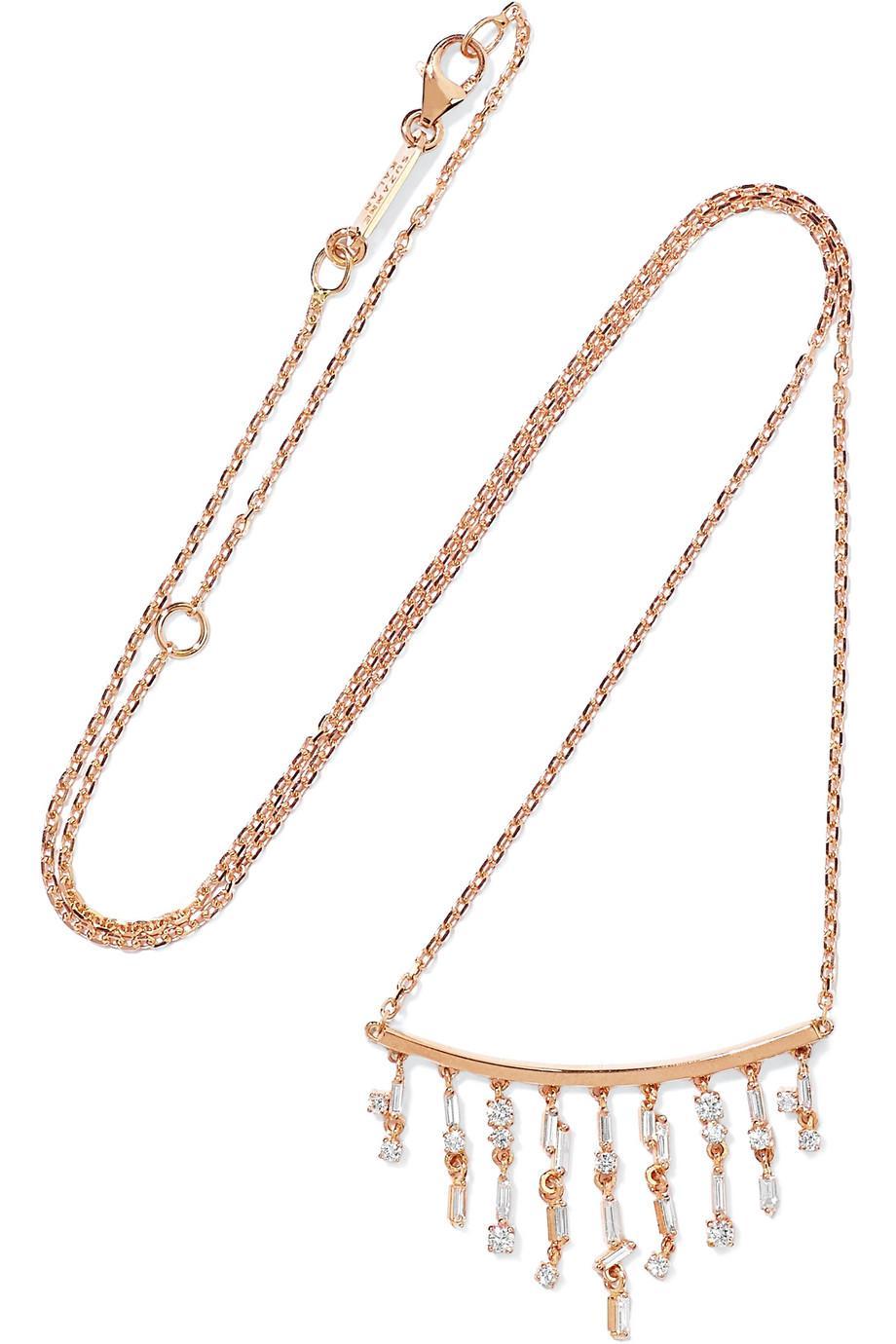 34e2251ad3 Lyst - Suzanne Kalan 18-karat Rose Gold Diamond Necklace in Metallic