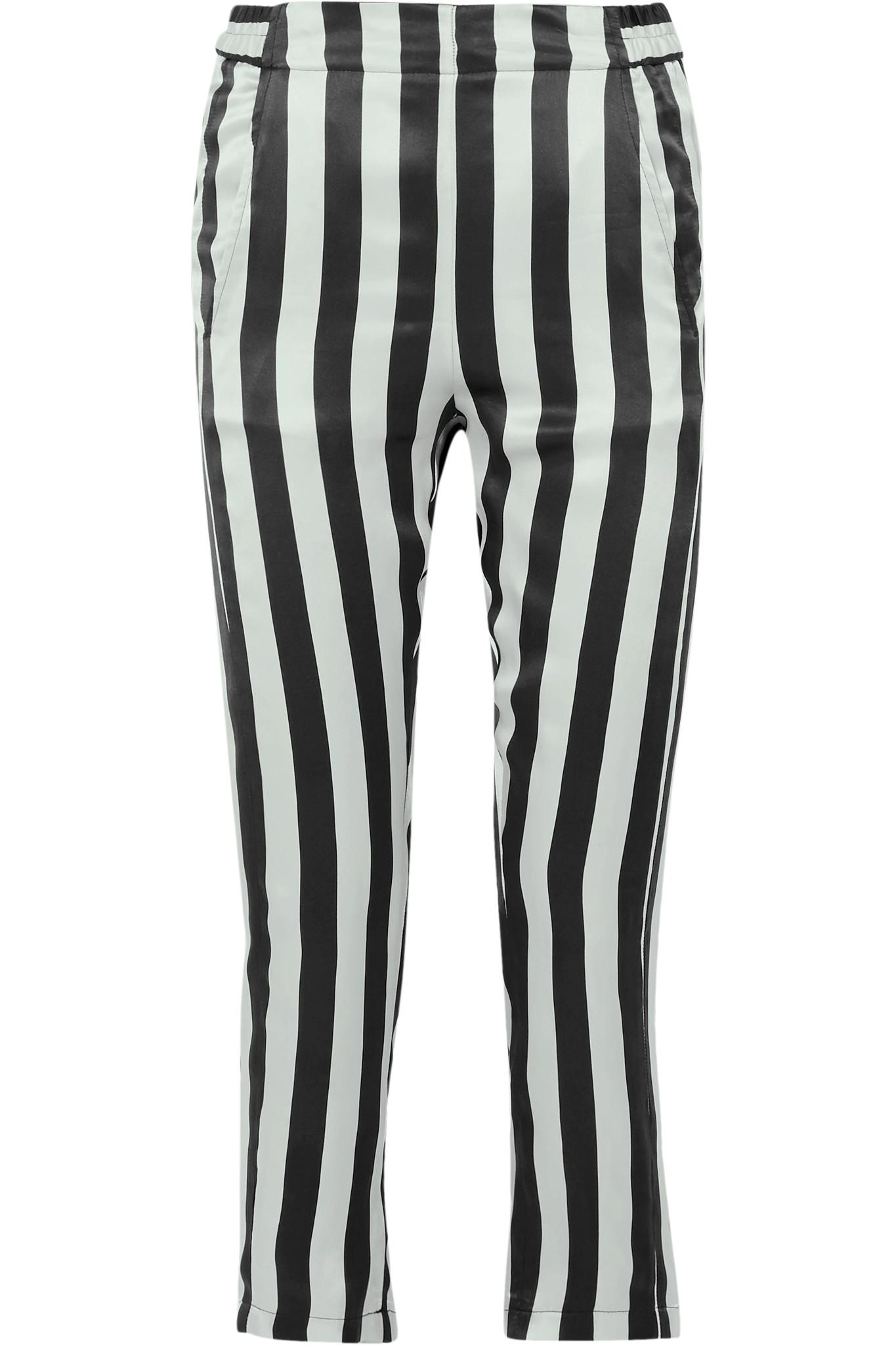 Cropped Striped Silk-satin Pants - Black Ann Demeulemeester With Credit Card Free Shipping RnKGIdFNP