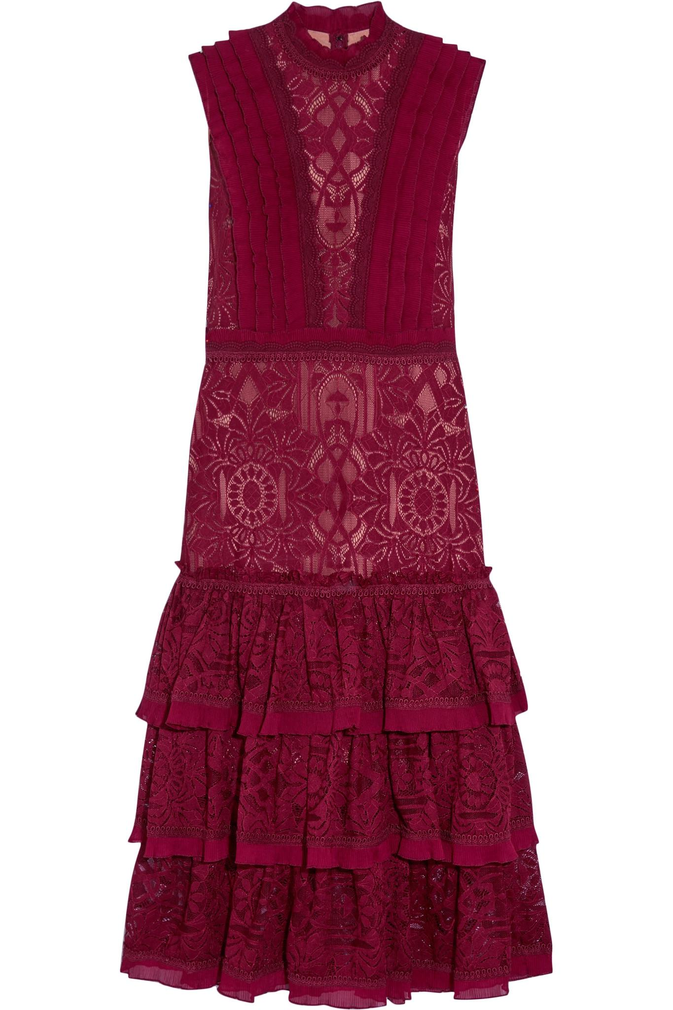 Lyst Jonathan Simkhai Tower Ruffled Lace Dress In Red