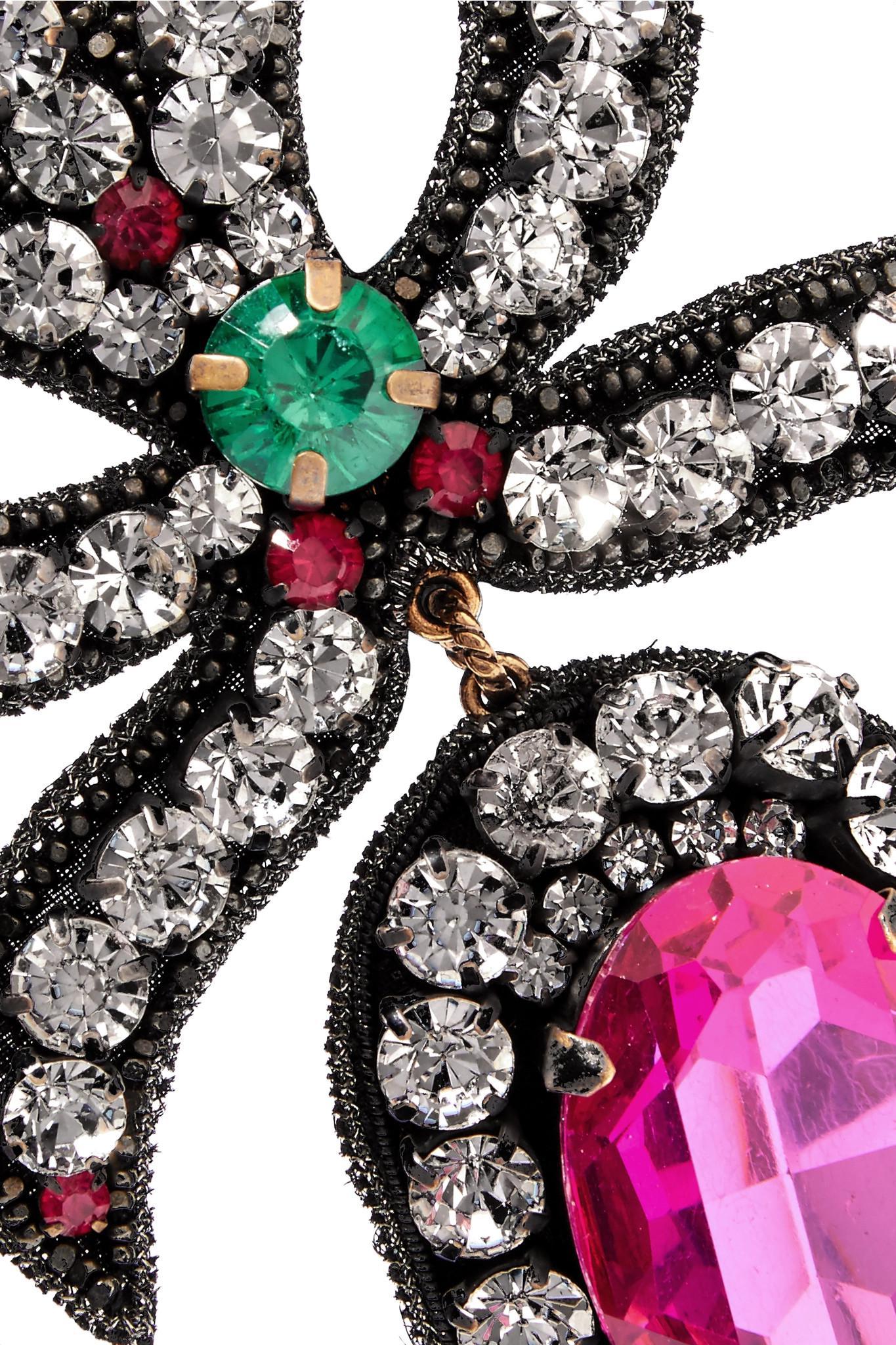Felt, Crystal And Bead Earrings - Black Gucci