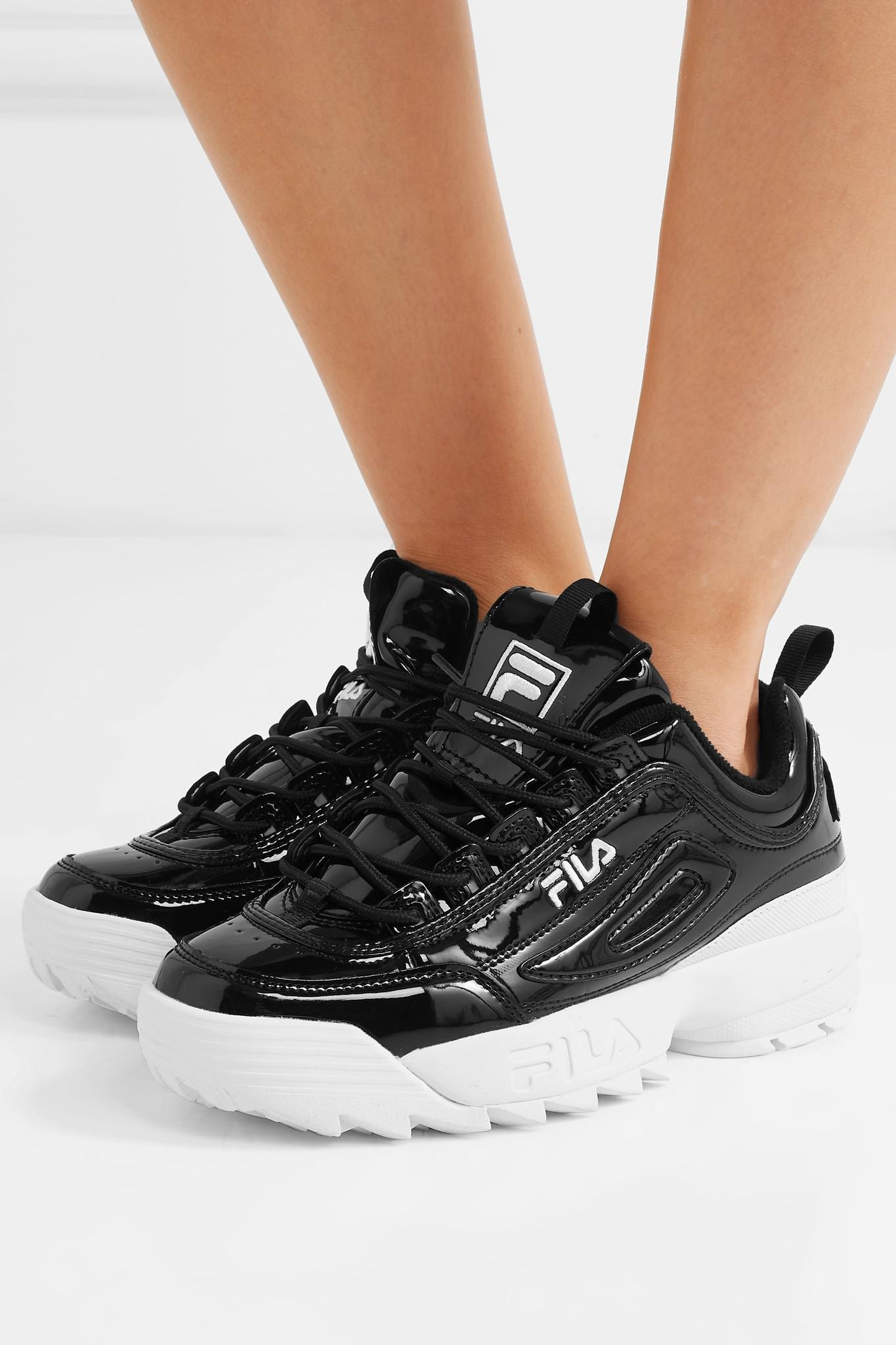 meticulous dyeing processes choose official newest Disruptor Ii Premium Logo-embroidered Patent-leather Sneakers