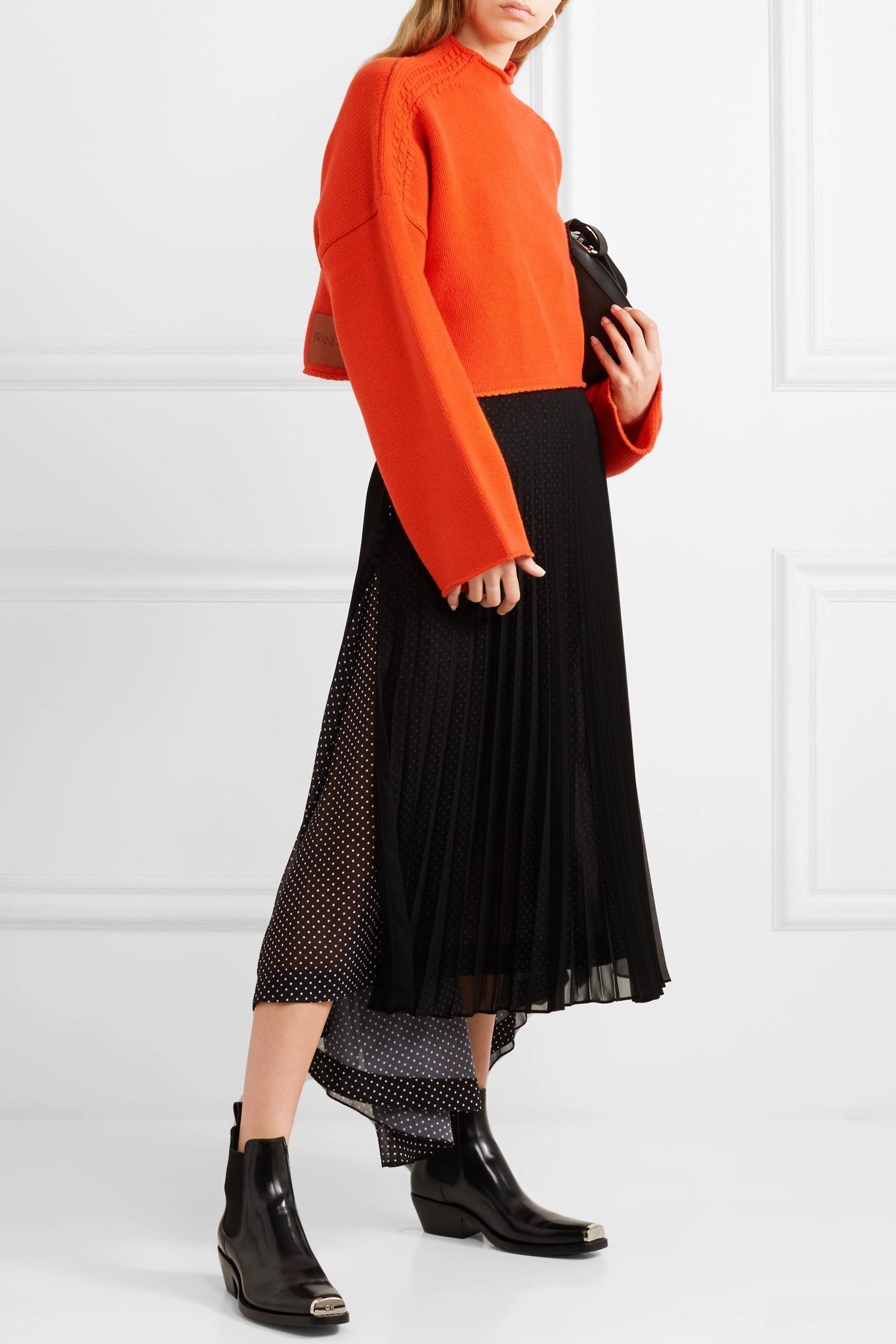 1b9de67d51ef5d J.W. Anderson - Orange Oversized Cropped Cable-knit Wool And Cashmere-blend  Sweater -. View fullscreen