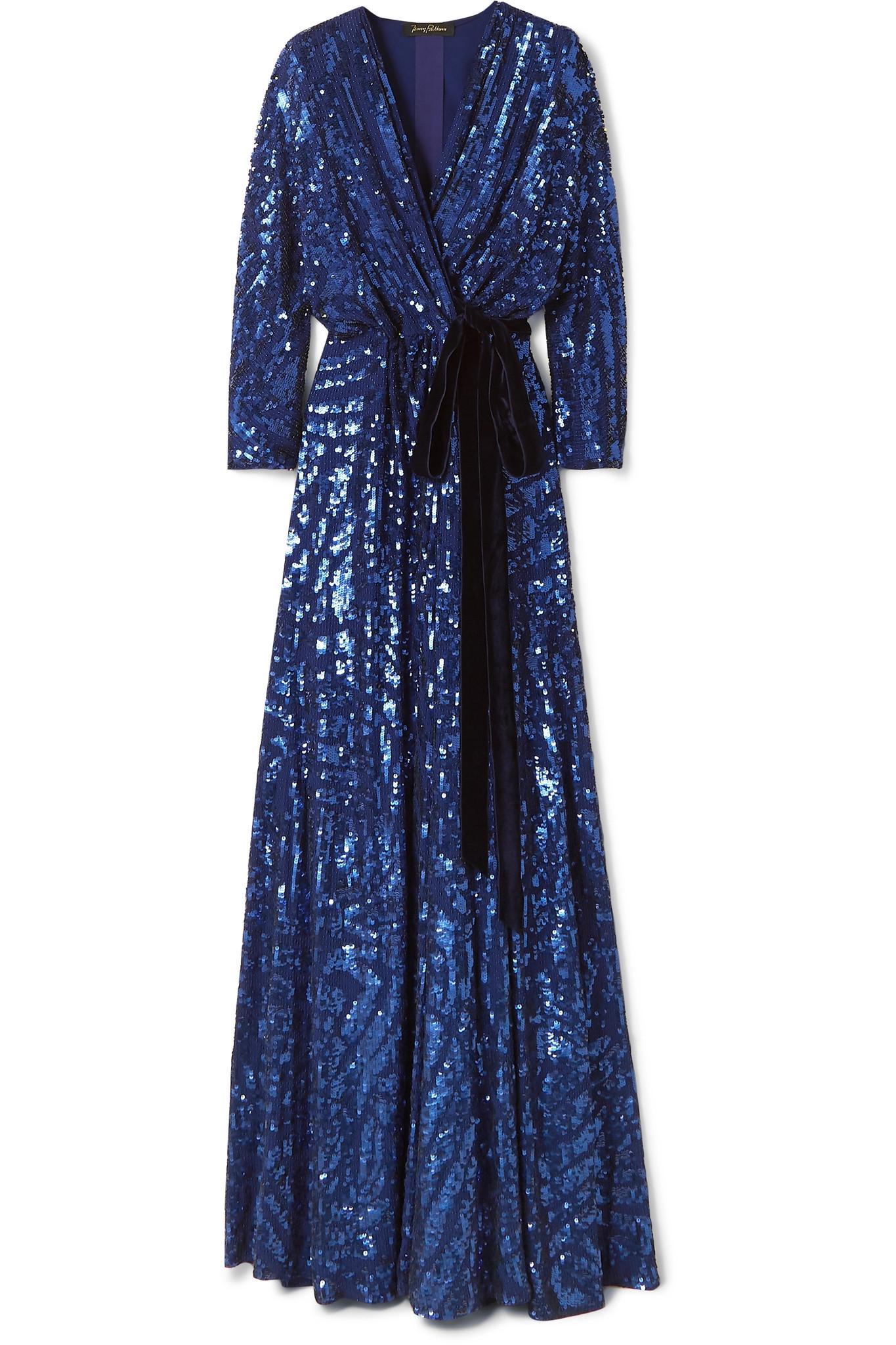 17bb9ac6 Jenny Packham. Women's Blue Lamour Velvet-trimmed Sequined Silk-chiffon Wrap  Gown