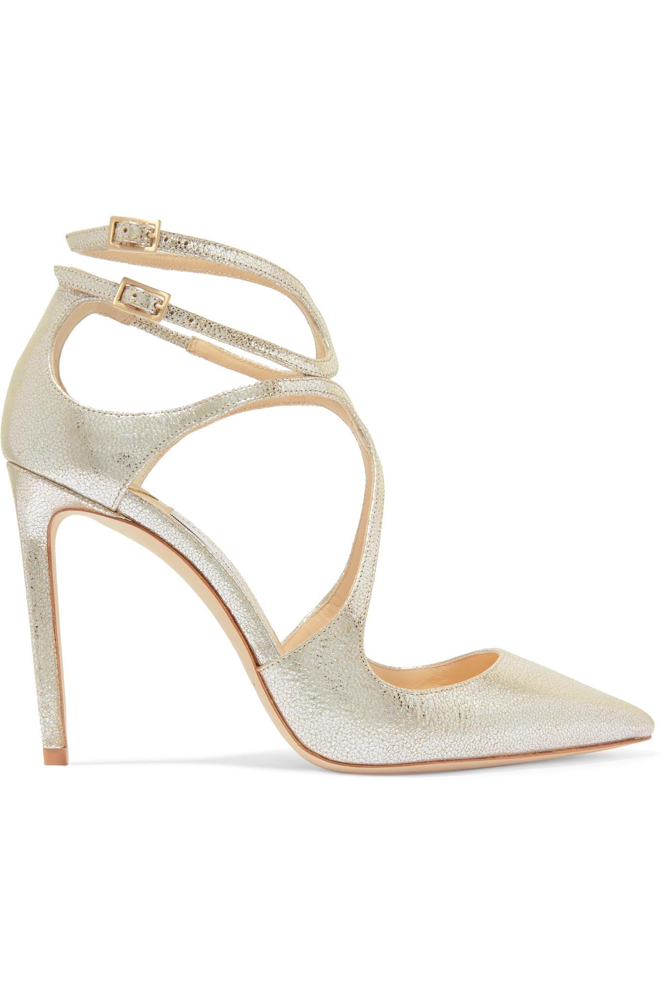 402a742553a4 Lyst - Jimmy Choo Lancer Metallic Cracked-leather Pumps in Metallic