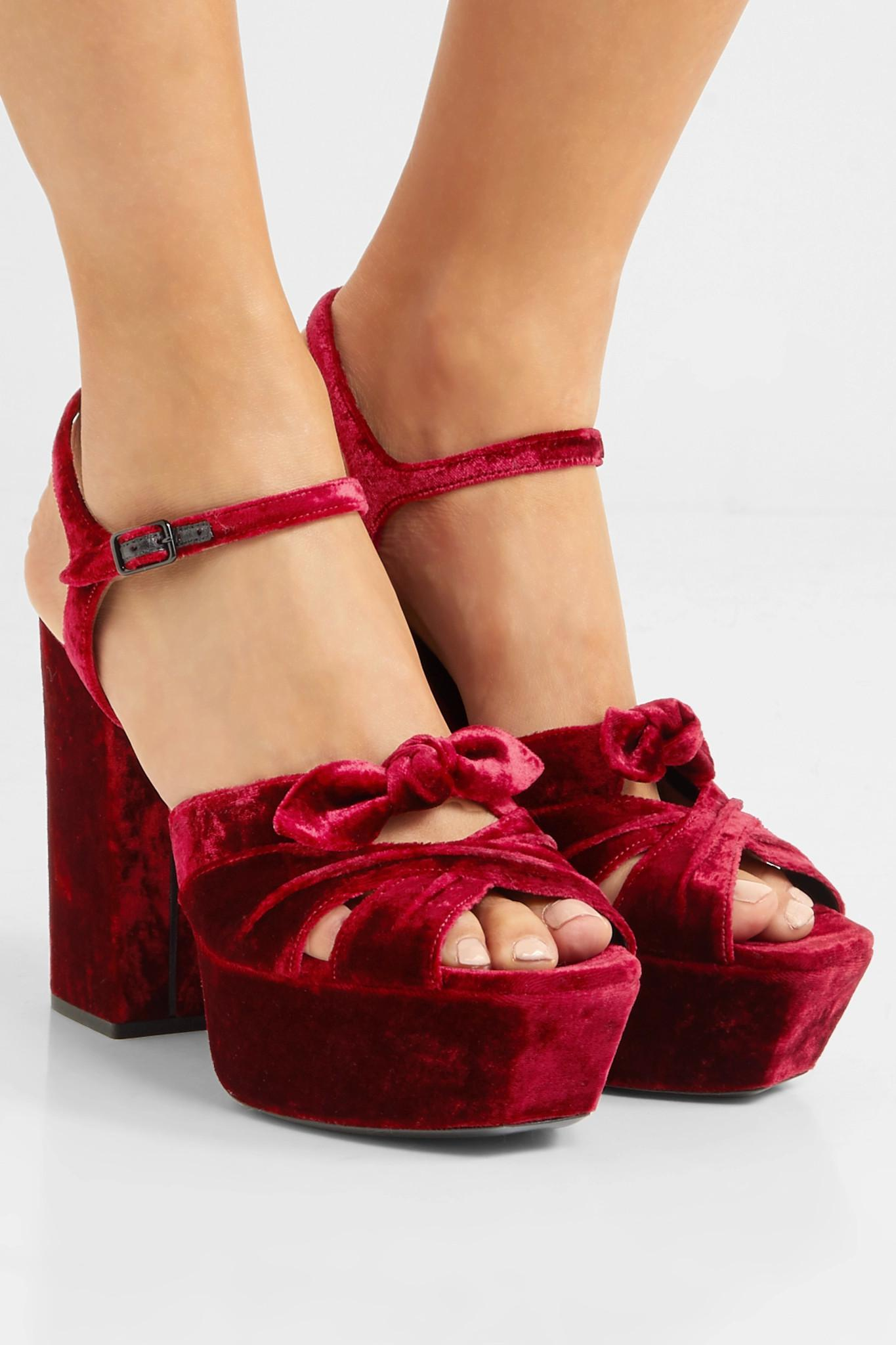 80597bf743 Saint Laurent Farrah Bow-embellished Velvet Platform Sandals in Red ...