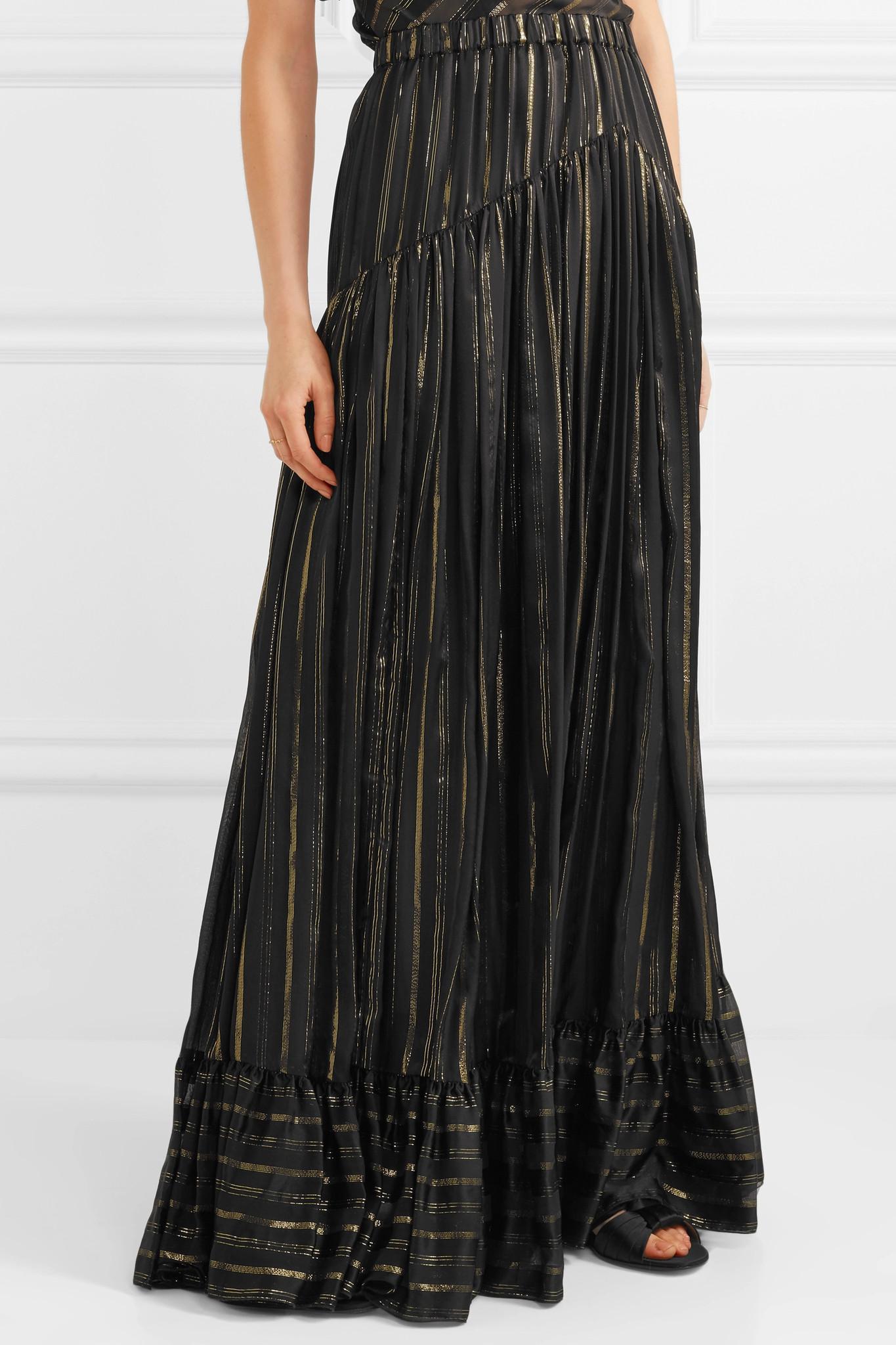 Low Shipping Fee Sale Online Metallic Striped Silk-blend Maxi Skirt - Black Philosophy di Lorenzo Serafini Cheap Sale Extremely Cut-Price Sale Cheap P7AOYCHBg
