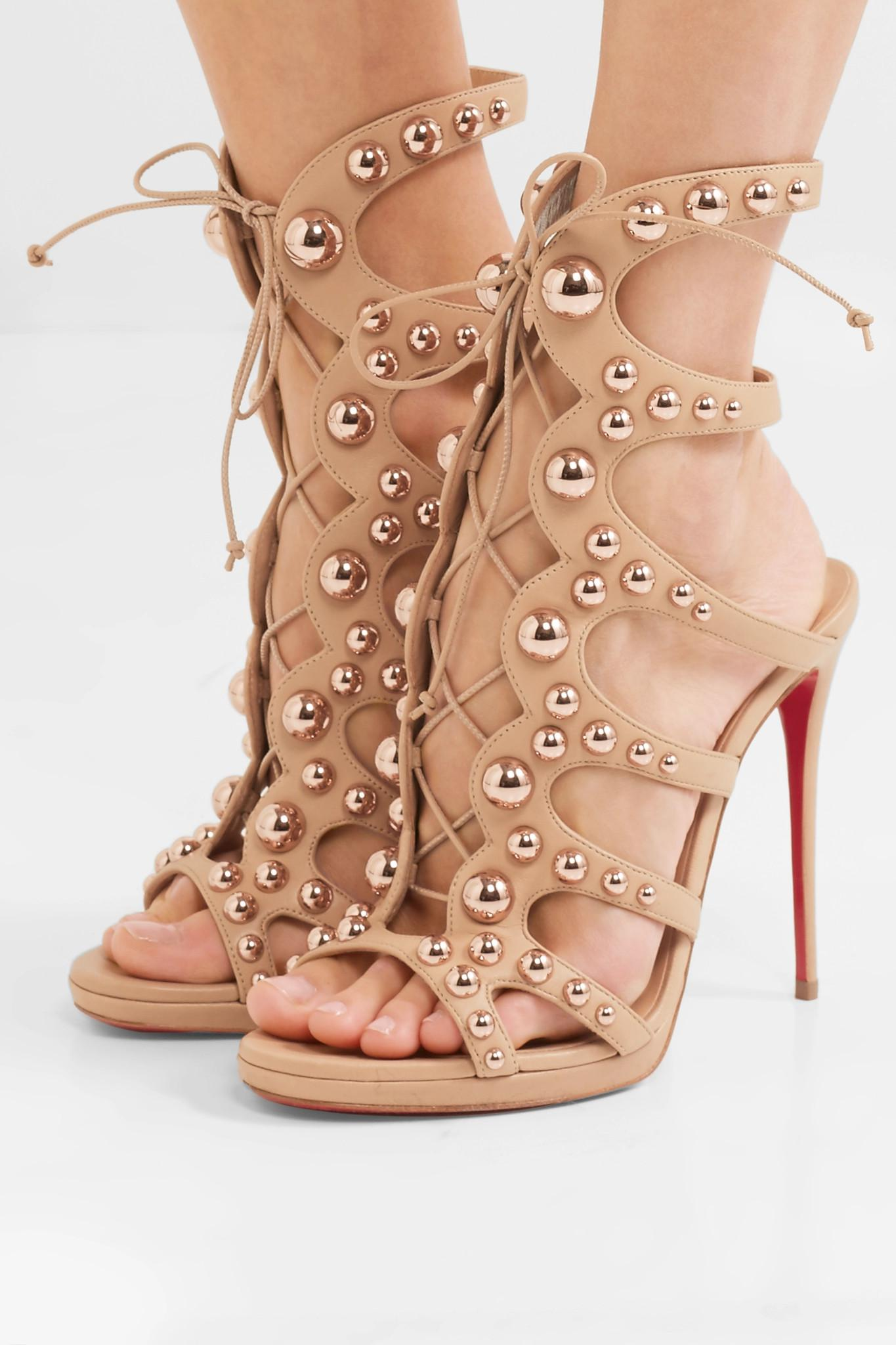 ecd6cfd295a Christian Louboutin - Multicolor Amazoubille 120 Studded Leather Sandals -  Lyst. View fullscreen