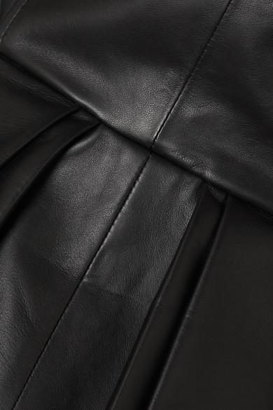 Blazer À Double Boutonnage En Cuir À Plis Creux Cuir Alexander McQueen en coloris Noir