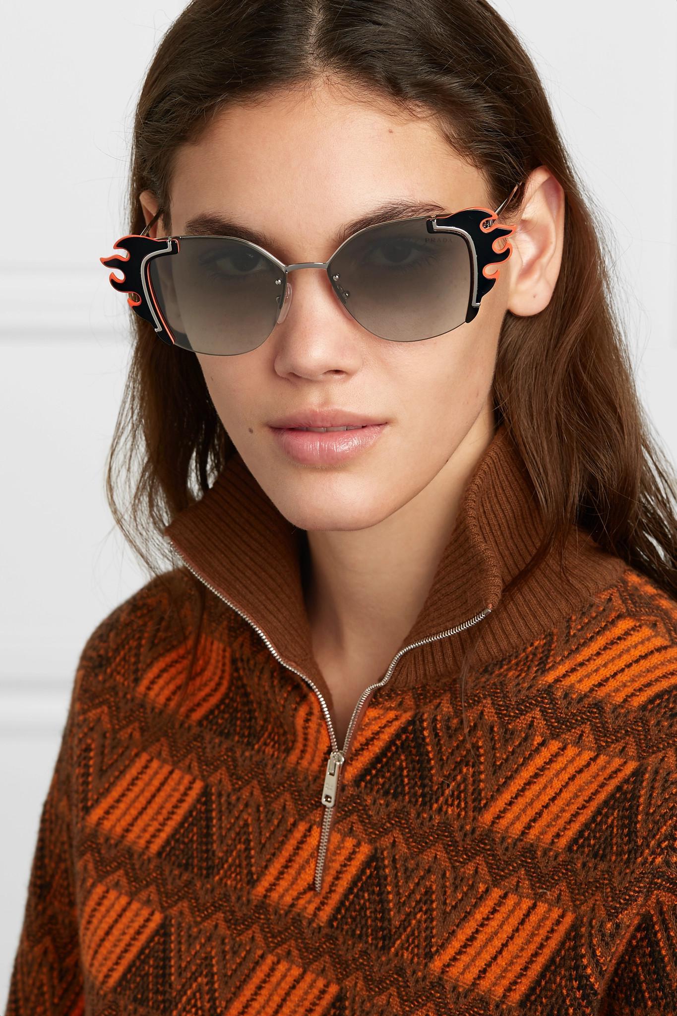 7b4603d5524 Prada - Black Embellished Cat-eye Acetate And Silver-tone Sunglasses -  Lyst. View fullscreen